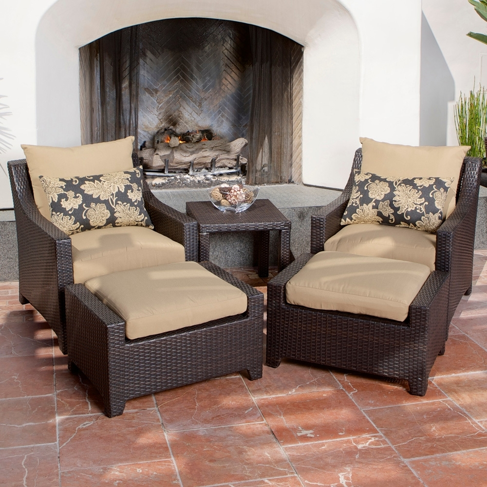 Delano 5 Piece Outdoor Chair And Ottoman With Side Table Set – Patio Intended For Latest Patio Conversation Sets With Ottoman (View 3 of 15)