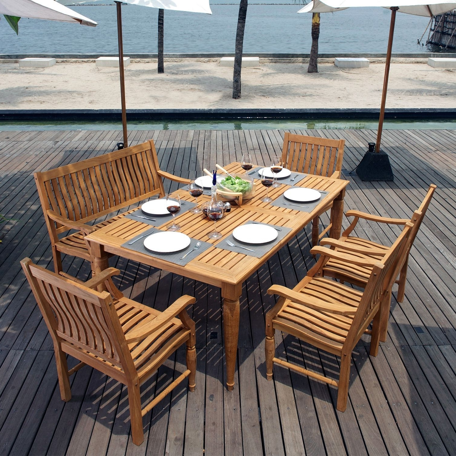 Dining Sets, Teak And Wall Fires (View 3 of 15)
