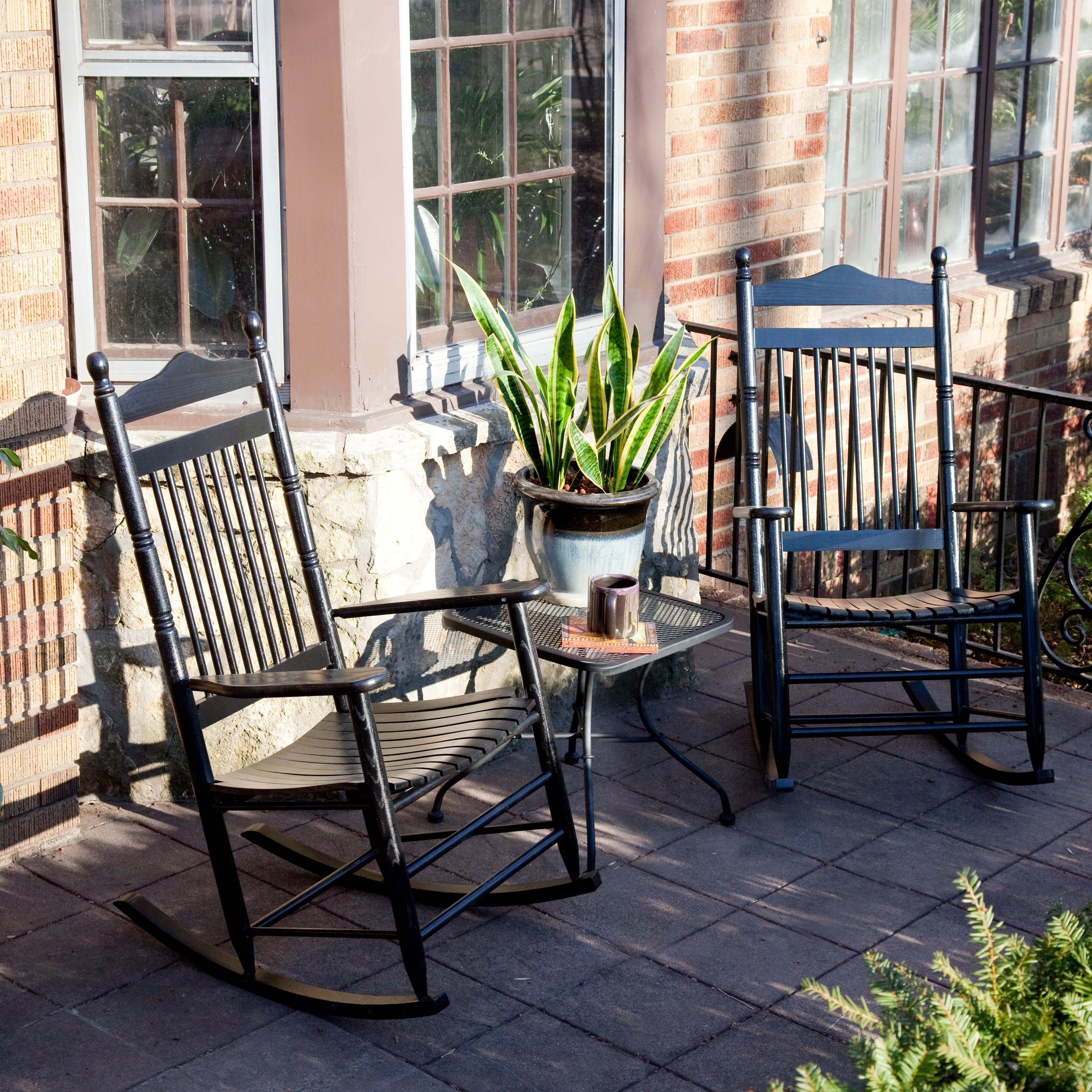 Dixie Seating Wrightsville Indoor Outdoor Slat Rocking Chairs Wicker Within 2018 Patio Rocking Chairs And Table (View 4 of 15)