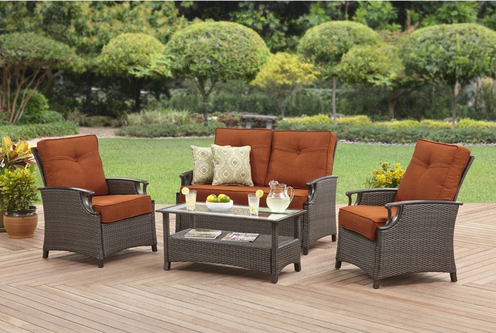 Ebay Patio Conversation Sets With 2017 4 Piece Conversation Patio Furniture Set Wiker Sofa Outdoor Loveseat (View 2 of 15)