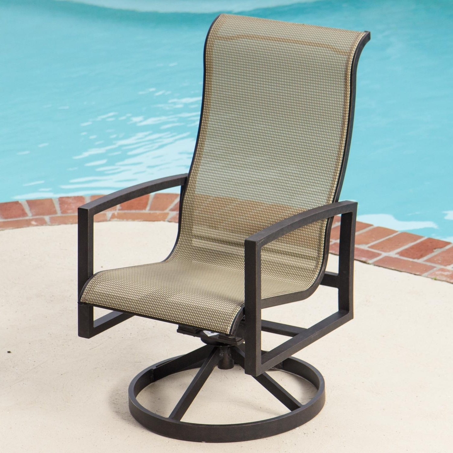 Famous Acadia Sling Patio Swivel Rocker Dining Chairlakeview Outdoor For Patio Sling Rocking Chairs (View 2 of 15)