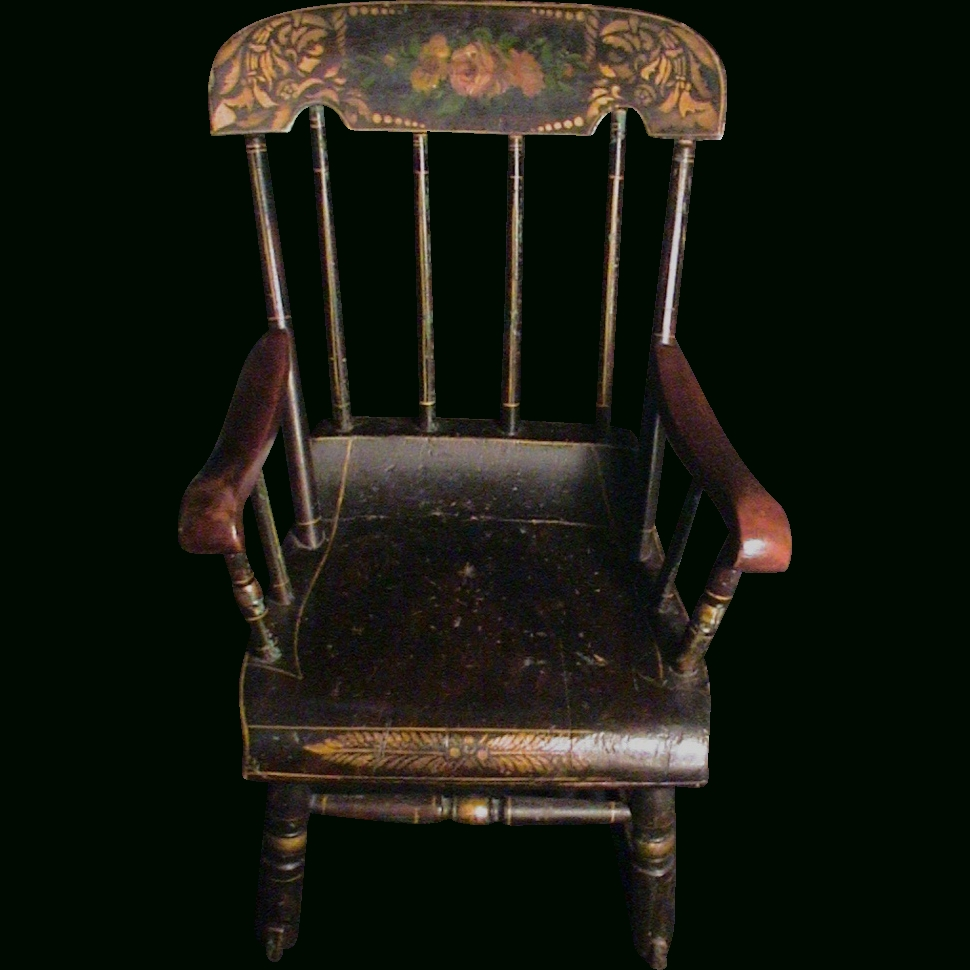 Famous Antique Child's Rocking Chair Roses & Stenciled 19Th C (View 2 of 15)