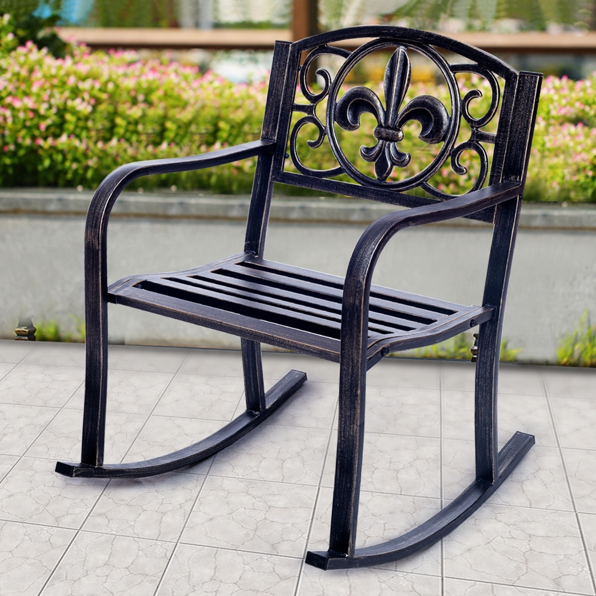Famous Costway: Costway Patio Metal Rocking Chair Porch Seat Deck Outdoor Intended For Outdoor Patio Metal Rocking Chairs (View 7 of 15)