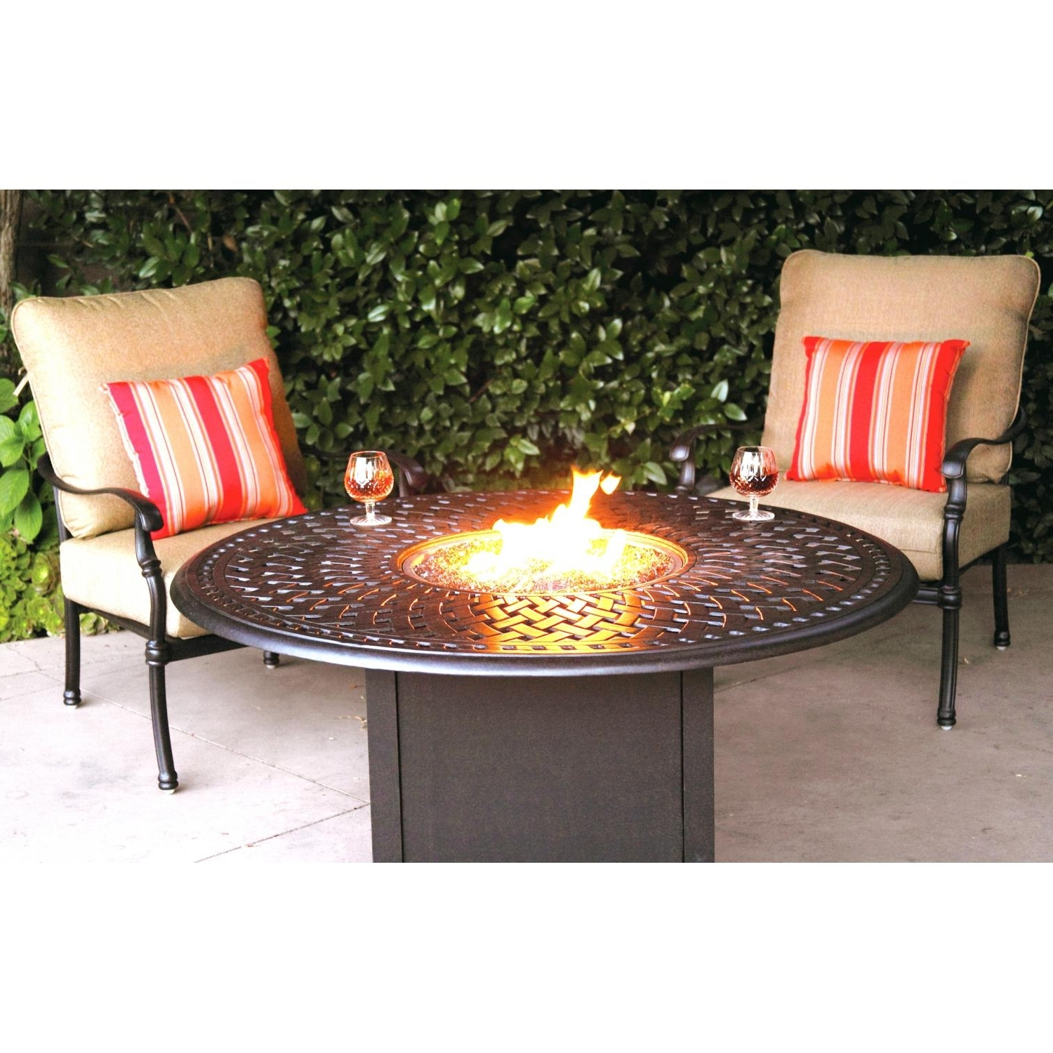 Famous Darlee Florence 3 Piece Aluminum Patio Fire Pit Seating Set Intended For Patio Furniture Conversation Sets With Fire Pit (View 5 of 15)