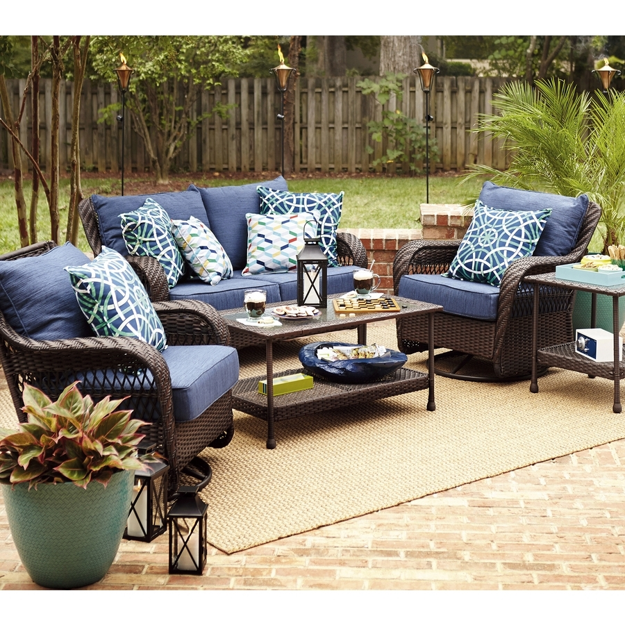 Famous Furniture: Impressive Navy Blue Cushions Seat With Wicker Rattan Intended For Patio Conversation Sets With Blue Cushions (View 4 of 15)