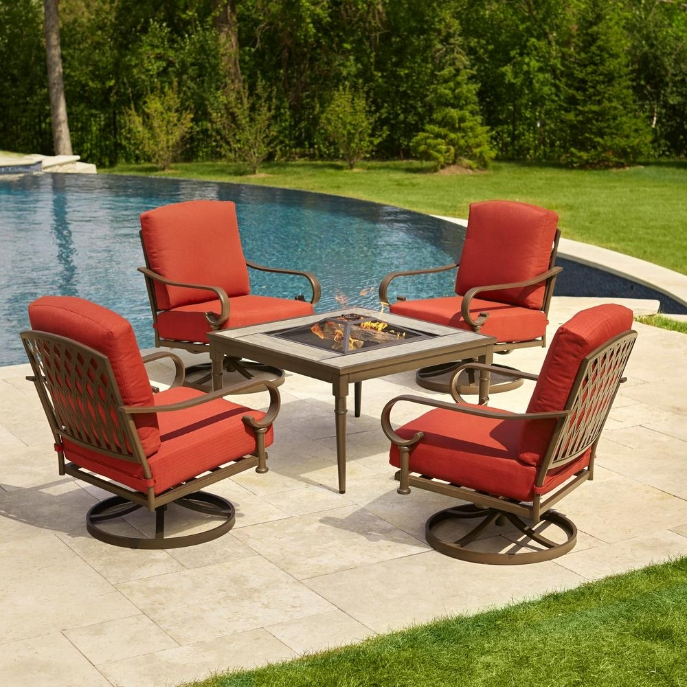 Famous Hampton Bay Oak Cliff 5 Piece Metal Patio Fire Pit Conversation Set With Patio Conversation Sets With Gas Fire Pit (View 2 of 15)