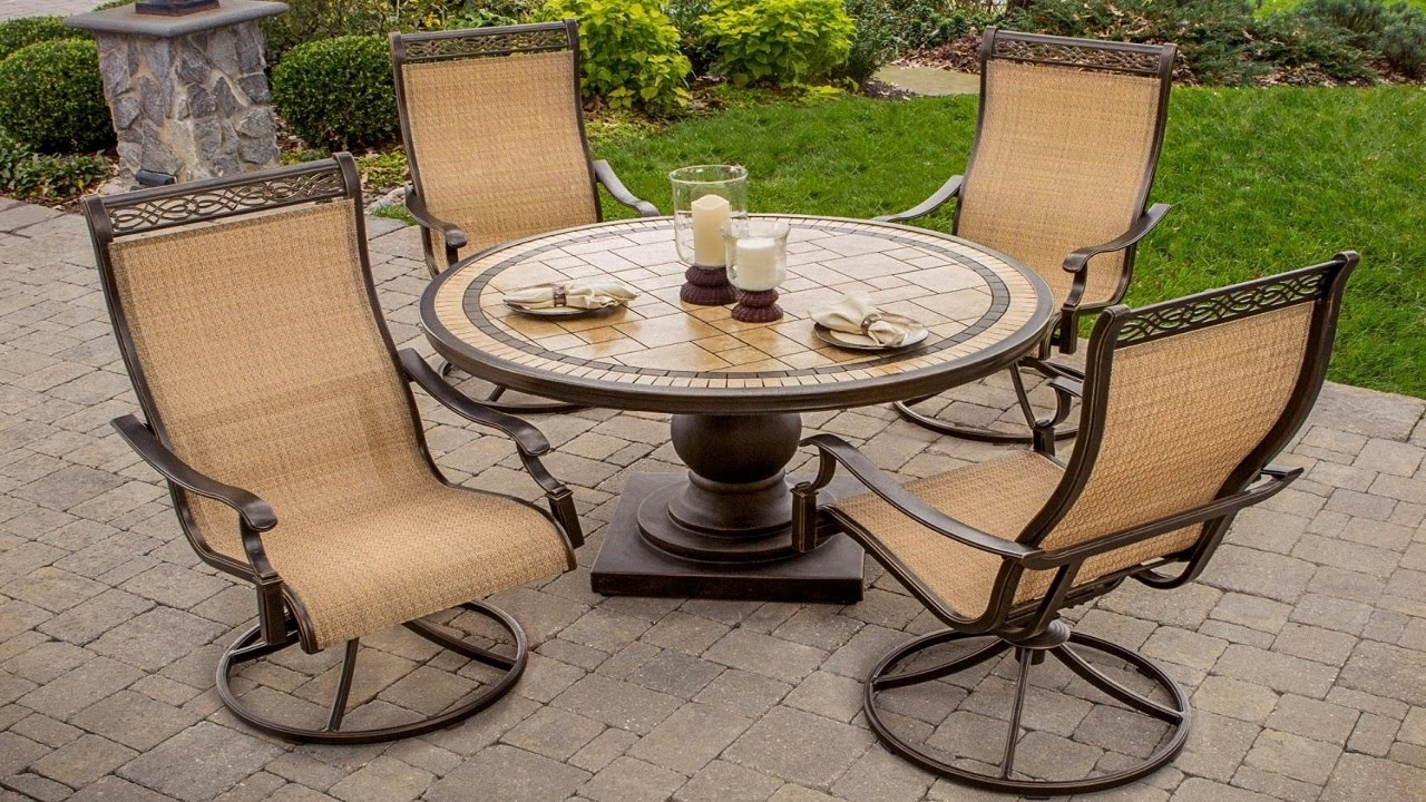 Famous Outdoor Swivel Rockers Patio Furniture – 5 Piece High Back Sling Regarding Patio Sling Rocking Chairs (View 3 of 15)