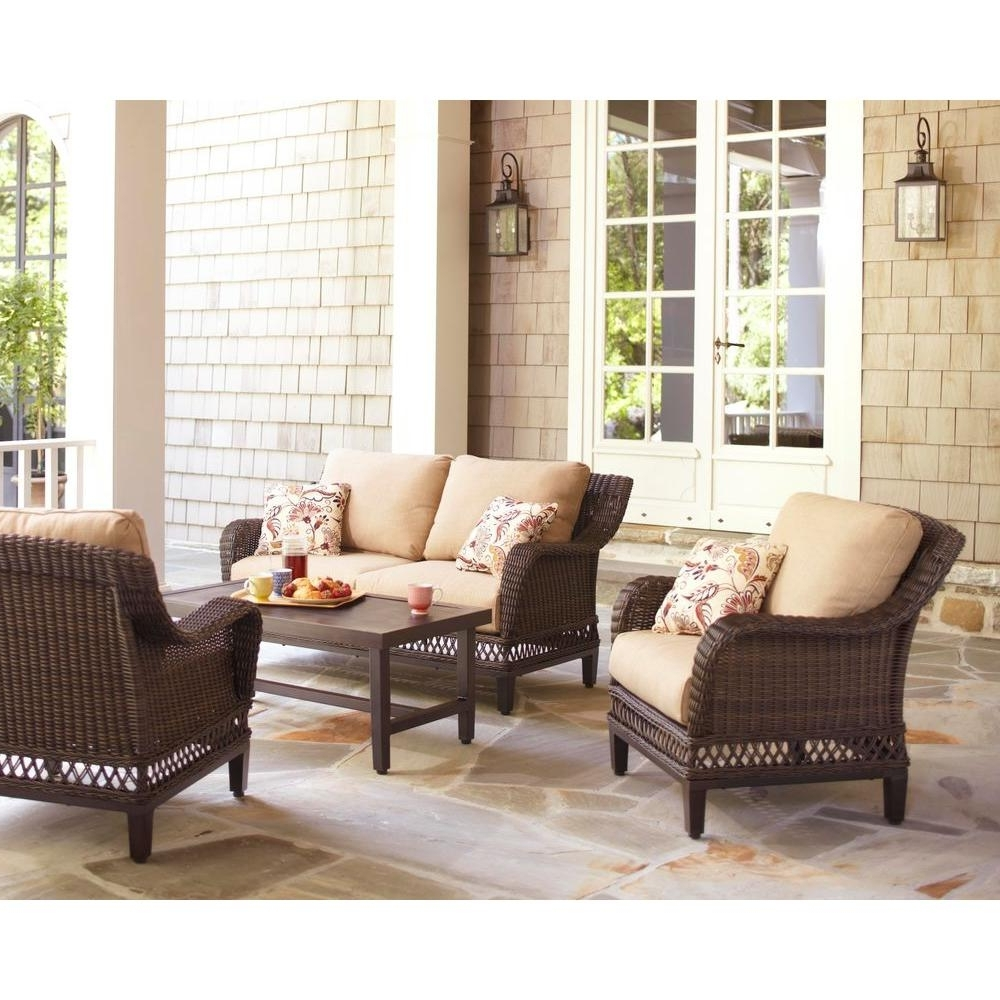 Famous Patio Furniture Conversation Sets At Home Depot In Hampton Bay Woodbury 4 Piece Wicker Outdoor Patio Seating Set With (View 13 of 15)
