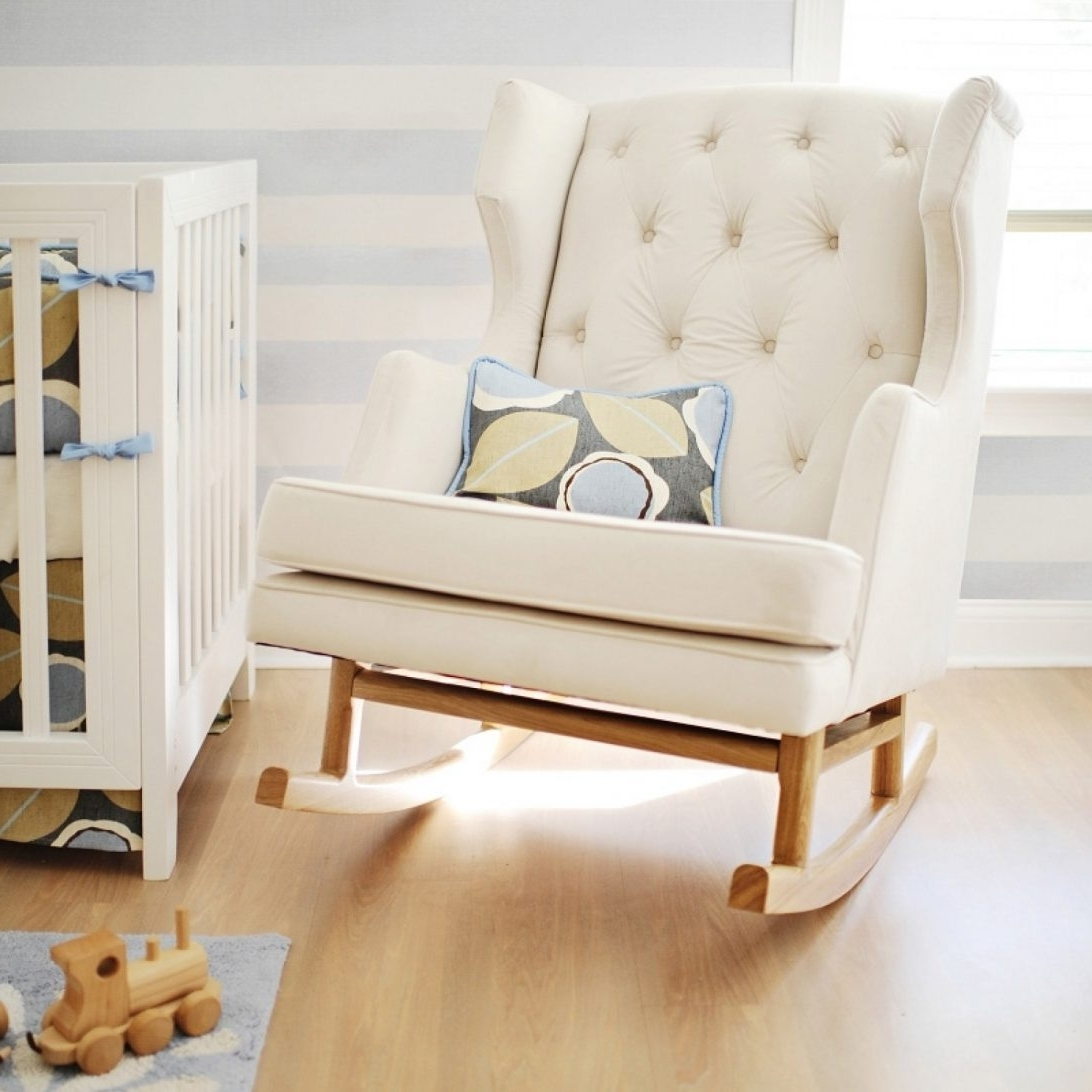 Famous Rocking Chairs For Small Spaces Throughout White Color Modern Tufted Nursery Rocker For Small Room Spaces With (View 4 of 15)
