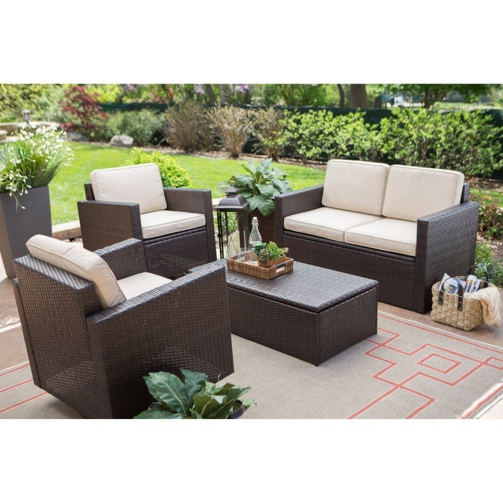 Fashionable Coral Coast Berea Wicker 4 Piece Conversation Set With Storage In Patio Conversation Sets With Storage (View 15 of 15)