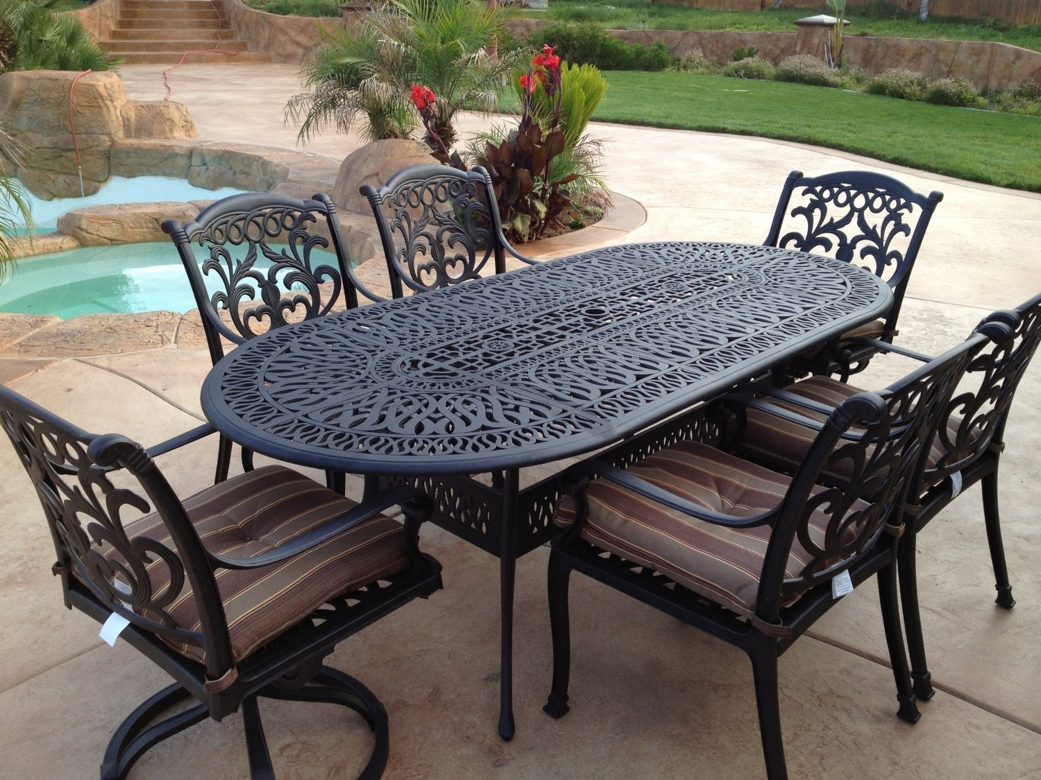 Fashionable Elegant Patio Furniture Metal 27 Hampton Bay Fire Pit Sets Inside Wrought Iron Patio Conversation Sets (View 8 of 15)