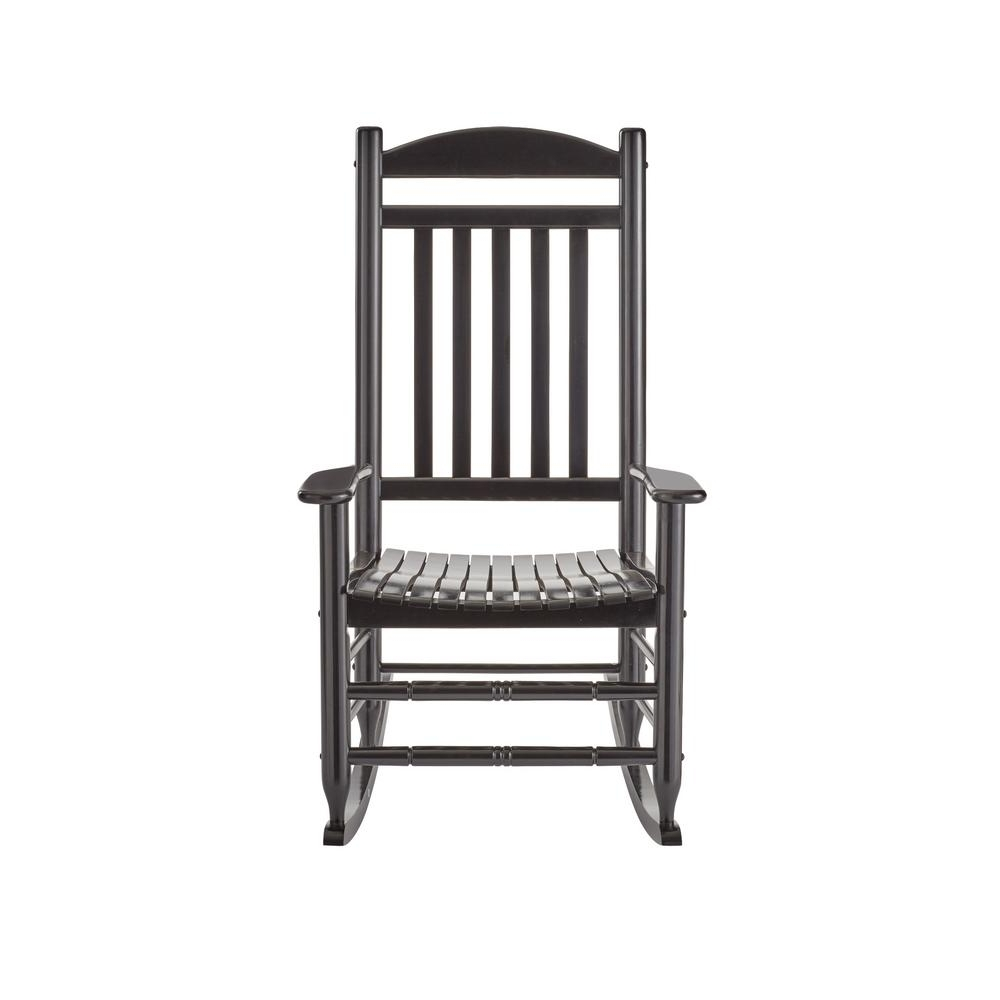 Fashionable Hampton Bay Black Wood Outdoor Rocking Chair It 130828B – The Home Depot Intended For Black Rocking Chairs (View 11 of 15)