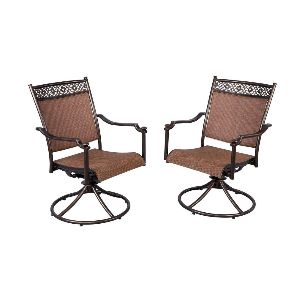 Fashionable Hampton Bay Niles Park Sling Patio Swivel Rockers (2-Pack)-S2 within Patio Sling Rocking Chairs