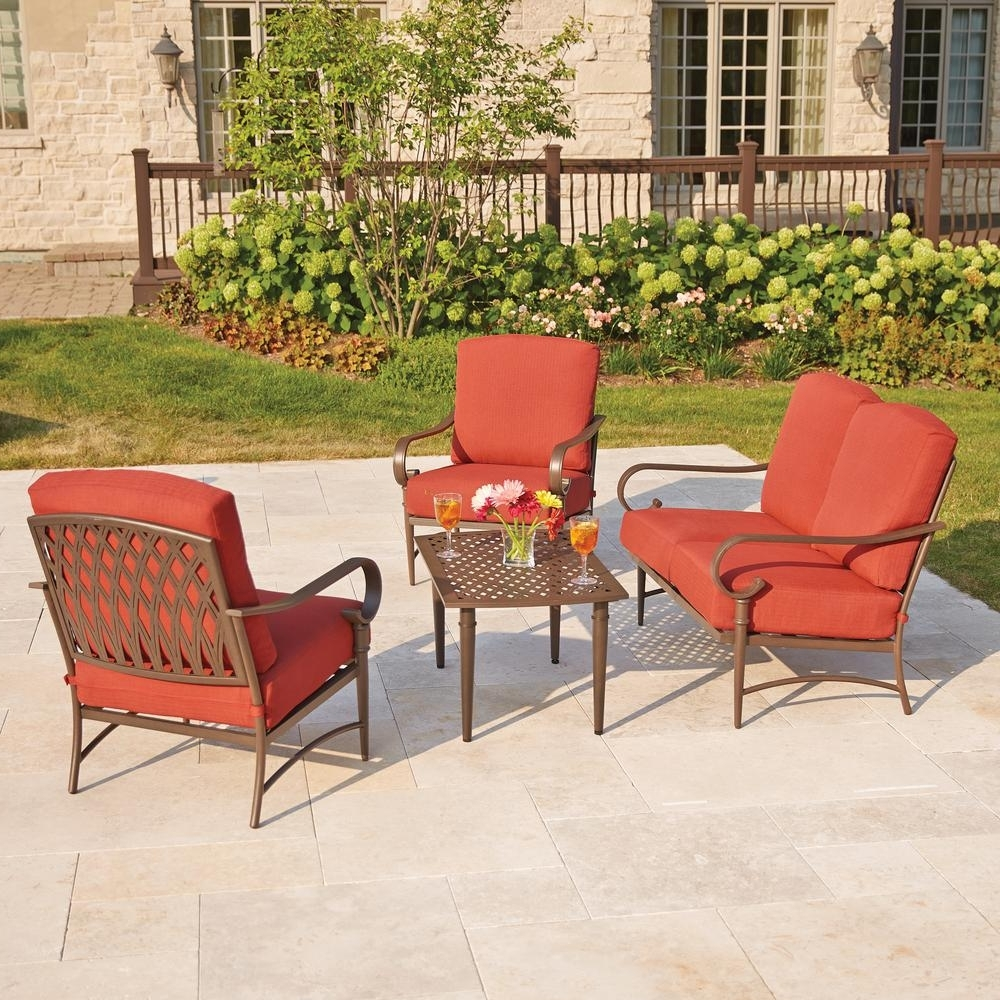 Fashionable Hampton Bay Oak Cliff 4 Piece Metal Outdoor Deep Seating Set With In Patio Conversation Sets At Home Depot (View 4 of 15)