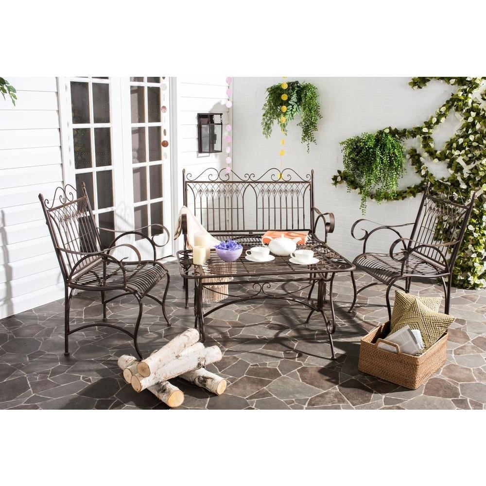 Fashionable Iron Patio Conversation Sets In Safavieh Leah Rustic Brown 4 Piece All Weather Iron Patio (View 4 of 15)