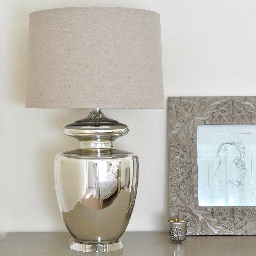 Fashionable Large Silver Urn Table Lamp And Linen Shadeprimrose & Plum With Regard To Large Living Room Table Lamps (View 8 of 15)