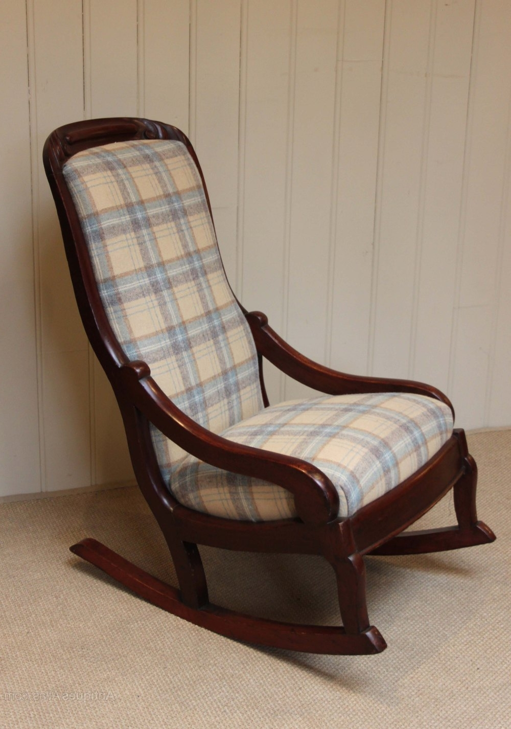 Fashionable Late Victorian Upholstered Rocking Chair – Antiques Atlas For Upholstered Rocking Chairs (View 3 of 15)
