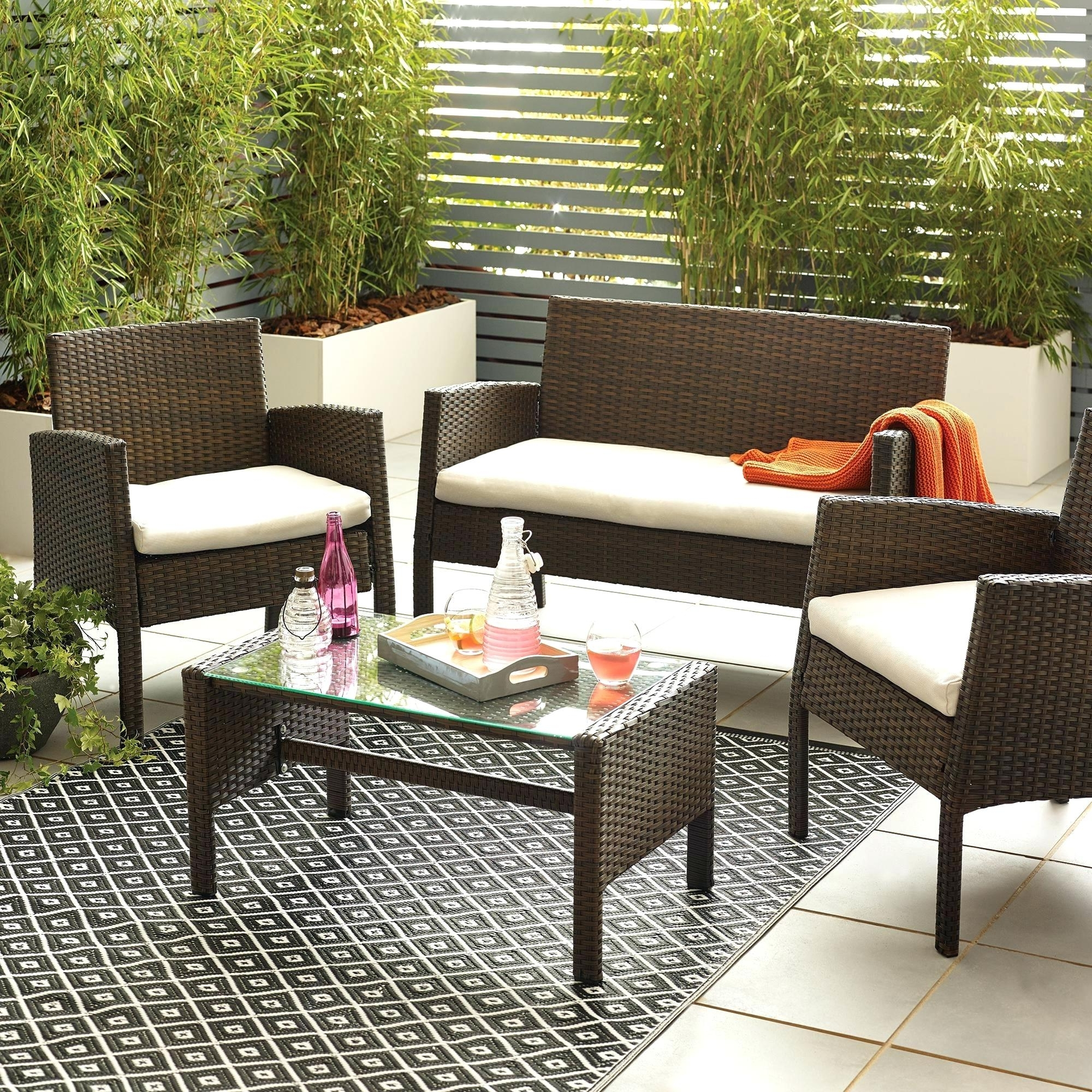Fashionable Lowes Patio Furniture Conversation Sets Pertaining To Outdoor Furniture Conversation Sets Brown 4 Seat Conversation Set (View 6 of 15)