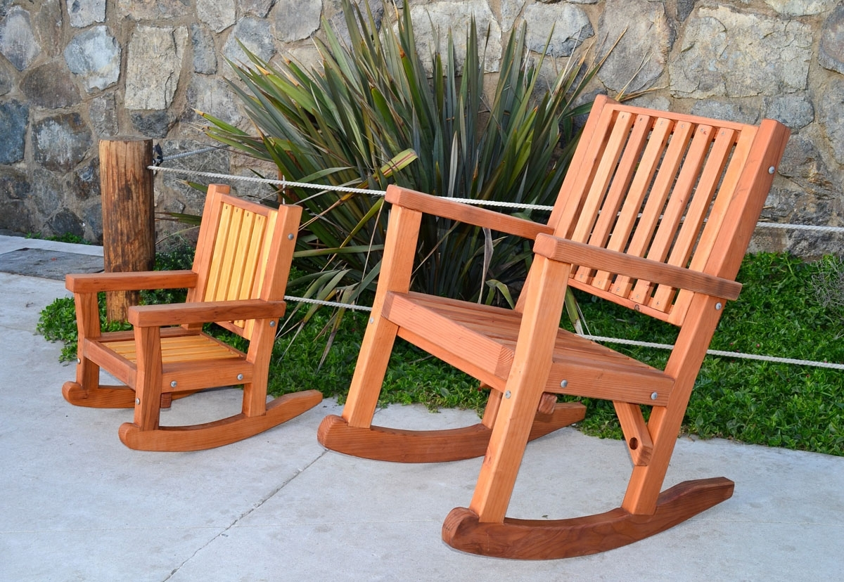 Fashionable Massive Wood Rocking Chair, Custom Redwood Rockers In Oversized Patio Rocking Chairs (View 4 of 15)