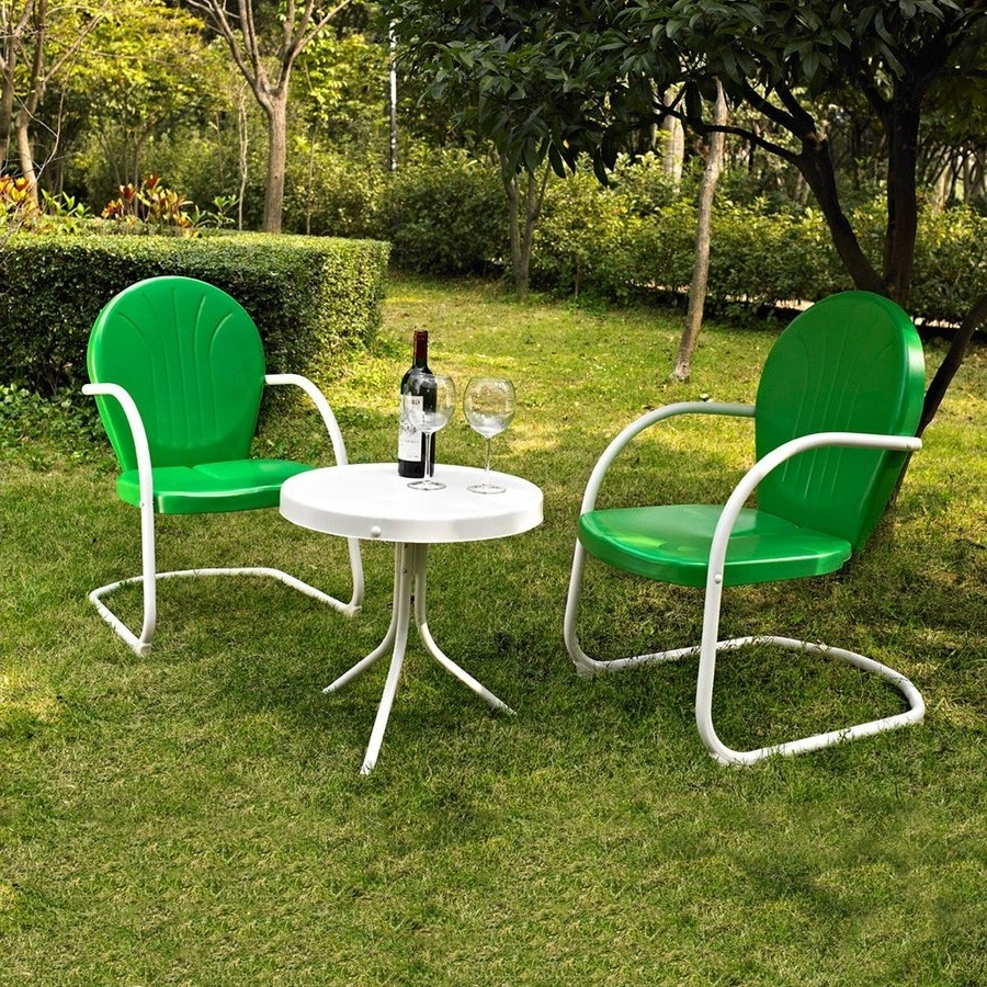 Fashionable Patio Conversation Sets Without Cushions With Regard To Shop Crosley Furniture Griffith 3 Piece Steel Frame Patio (View 4 of 15)