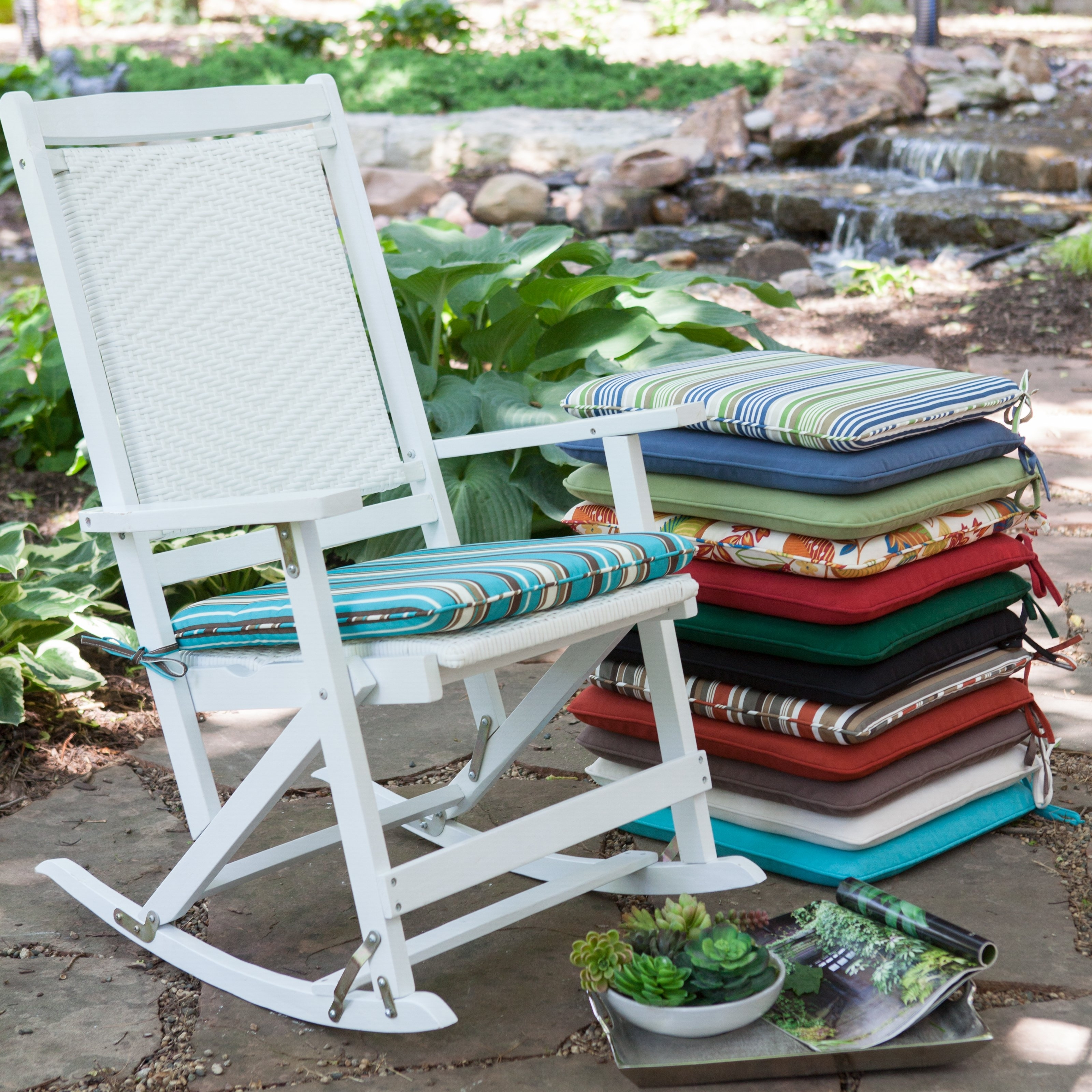 Fashionable Patio Rocking Chairs With Cushions With Regard To Stunning Sunbrella Patio Chair Cushions Outdoor Patio Rocking Chair (View 5 of 15)