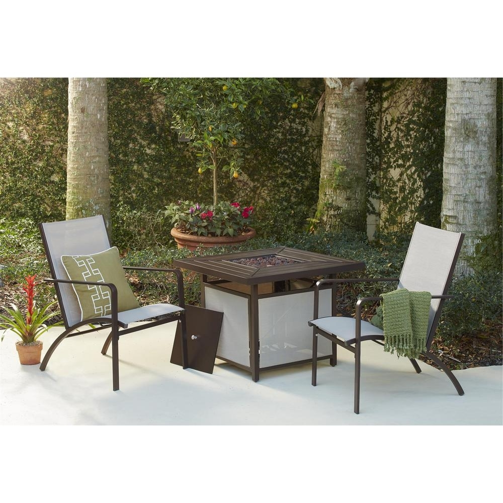 Fashionable Sling Patio Conversation Sets Within Cosco Stone Lake Aluminum Sling Patio Fire Pit Conversation Set ( (View 1 of 15)