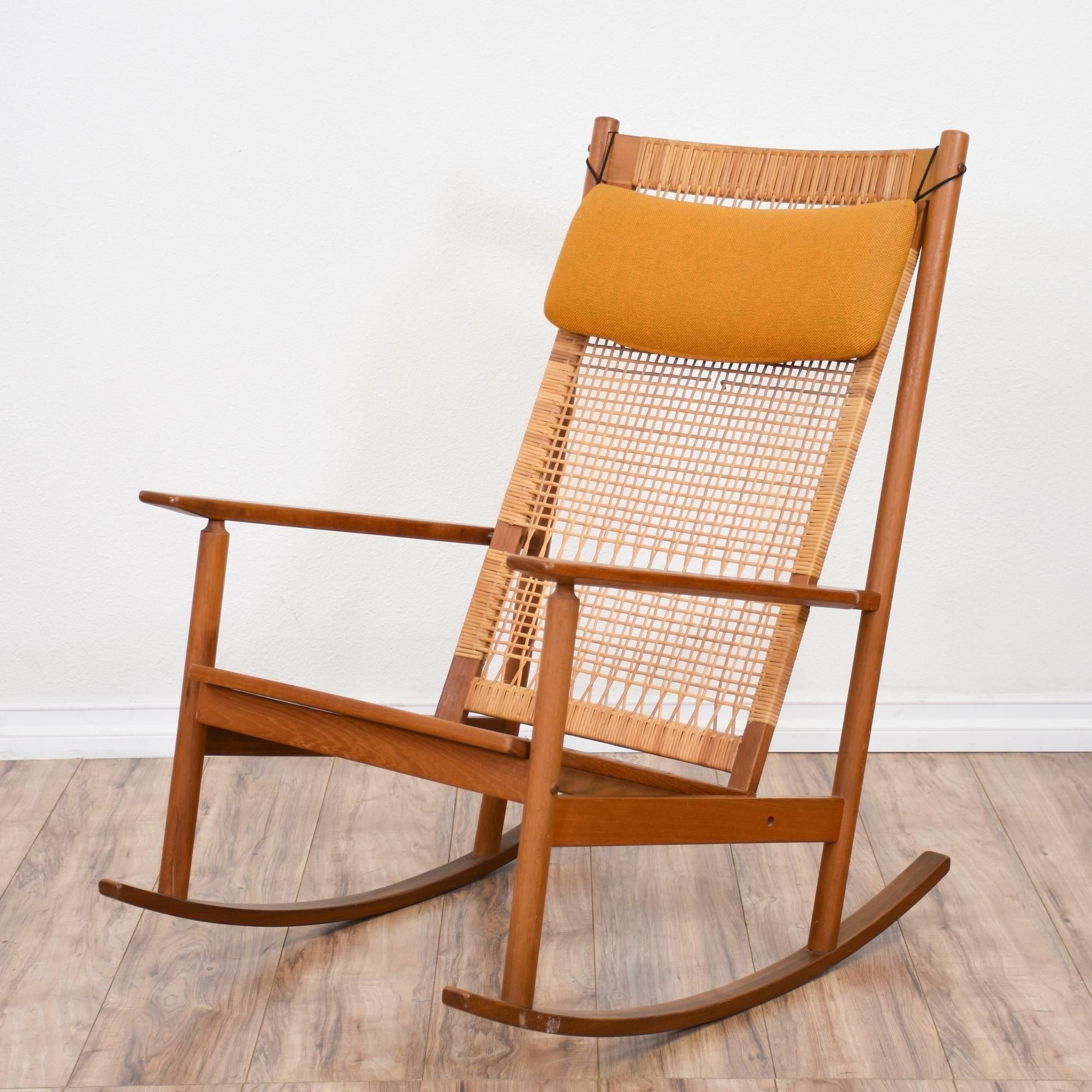 Fashionable This Mid Century Modern Rocking Chair Is Featured In A Solid Wood With Regard To Yellow Outdoor Rocking Chairs (View 9 of 15)