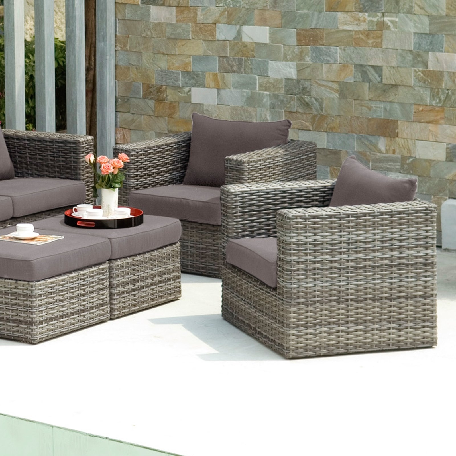 Fashionable Wicker Rocking Chairs And Ottoman With Regard To Wicker Outdoor Chairs Set With Ottoman Coffee Table Idea Of A (View 15 of 15)