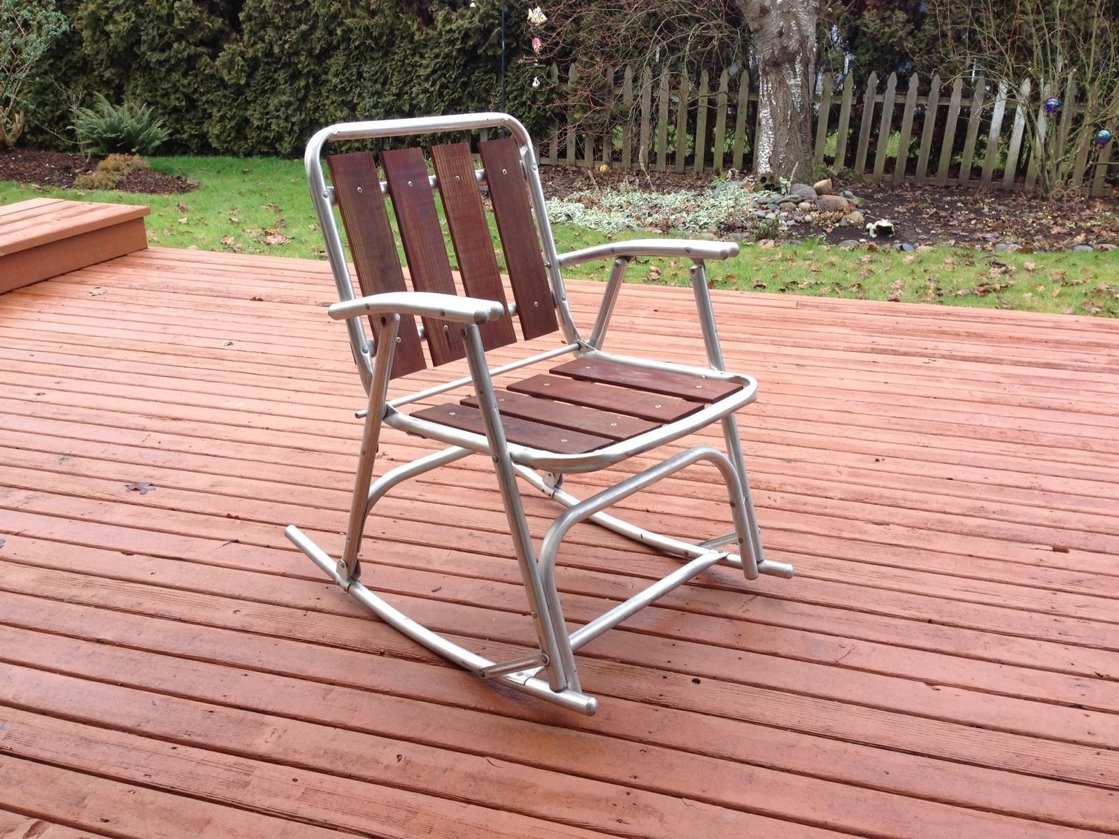 Favorite 1 Vtg Redwood Aluminum Outdoor Patio Porch Lawn Rocking Chairs Inside Aluminum Patio Rocking Chairs (View 8 of 15)