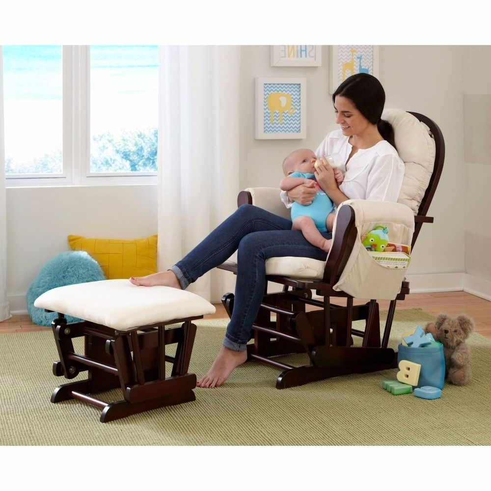 Favorite Glider Baby Rocker & Ottoman Beige Espresso Wood Rocking Chair Seat Intended For Rocking Chairs For Baby Room (View 12 of 15)