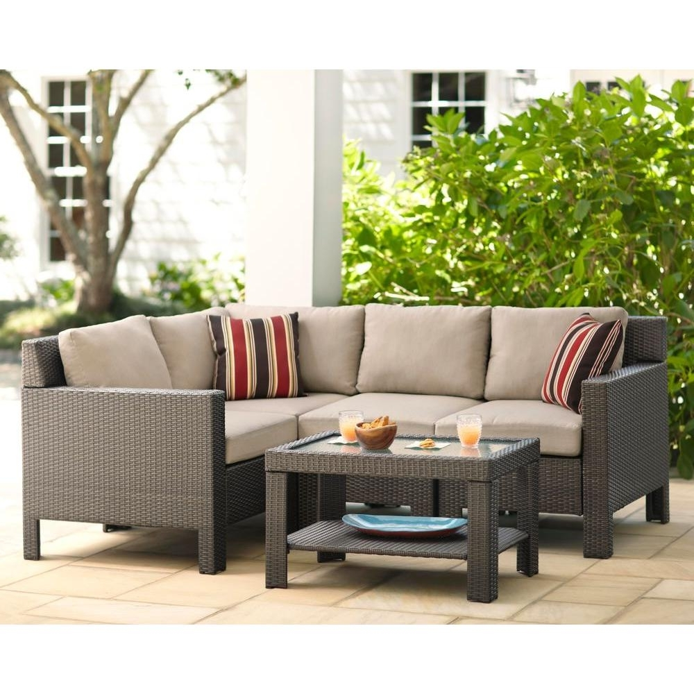 Favorite Hampton Bay Beverly 5 Piece Patio Sectional Seating Set With Beverly Throughout Patio Conversation Sets For Small Spaces (View 4 of 15)