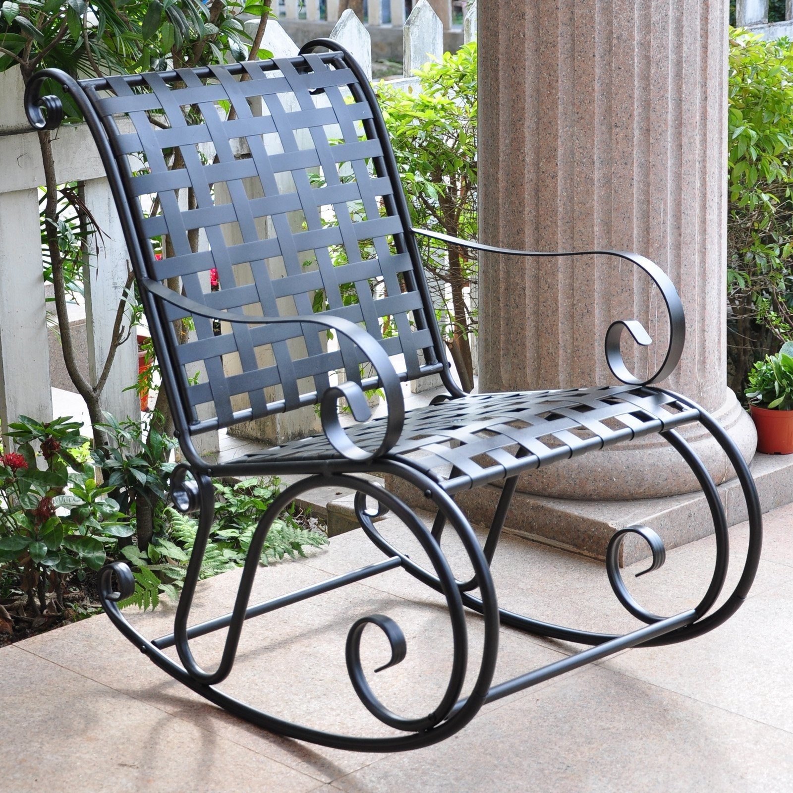 Favorite Iron Rocking Patio Chairs With Regard To International Caravan Scroll Iron Metal Outdoor Rocker – Walmart (View 2 of 15)