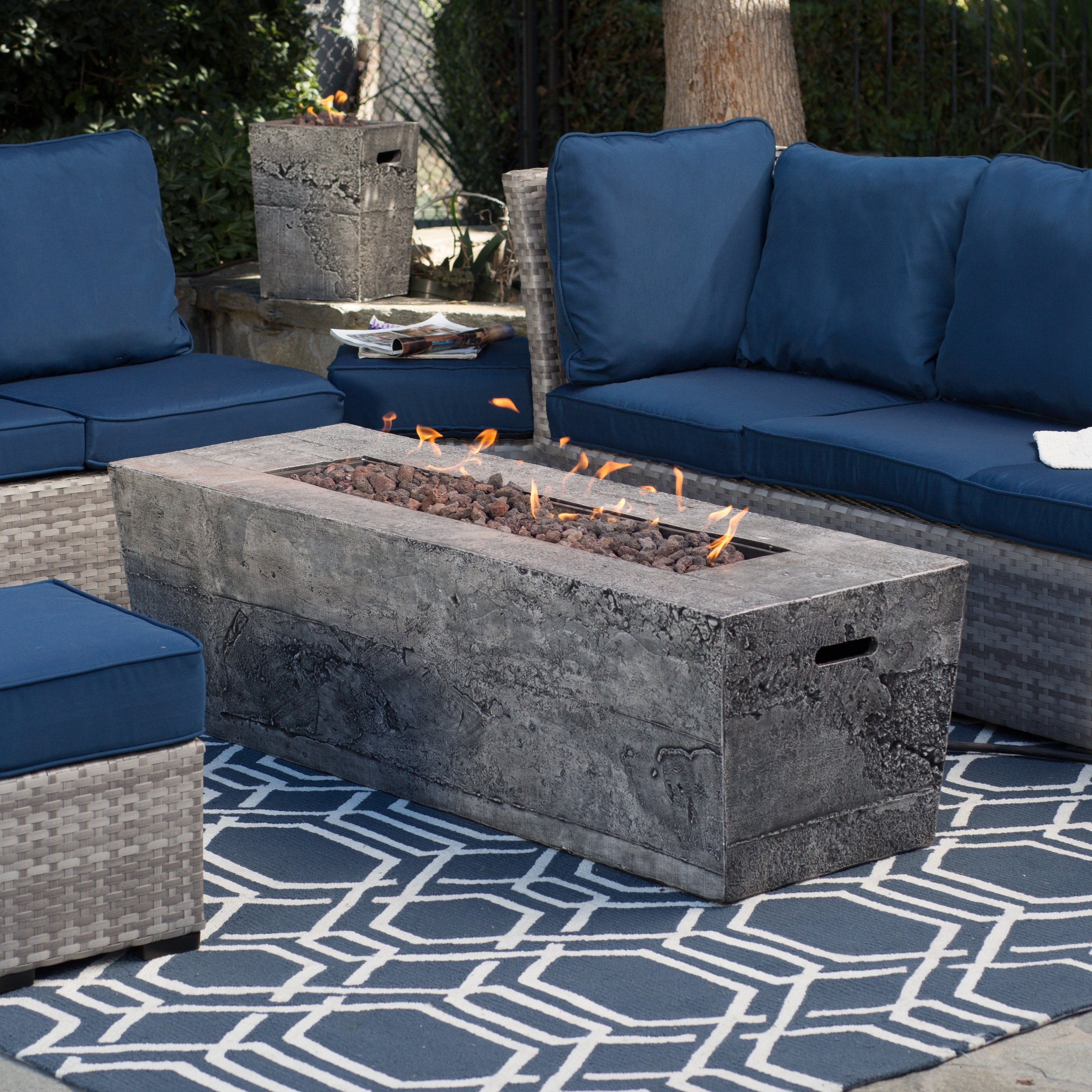 Favorite Patio Conversation Sets With Gas Fire Pit Within Lovely Outdoor Patio Set With Gas Fire Pit Red Ember Glacier Stone (View 14 of 15)