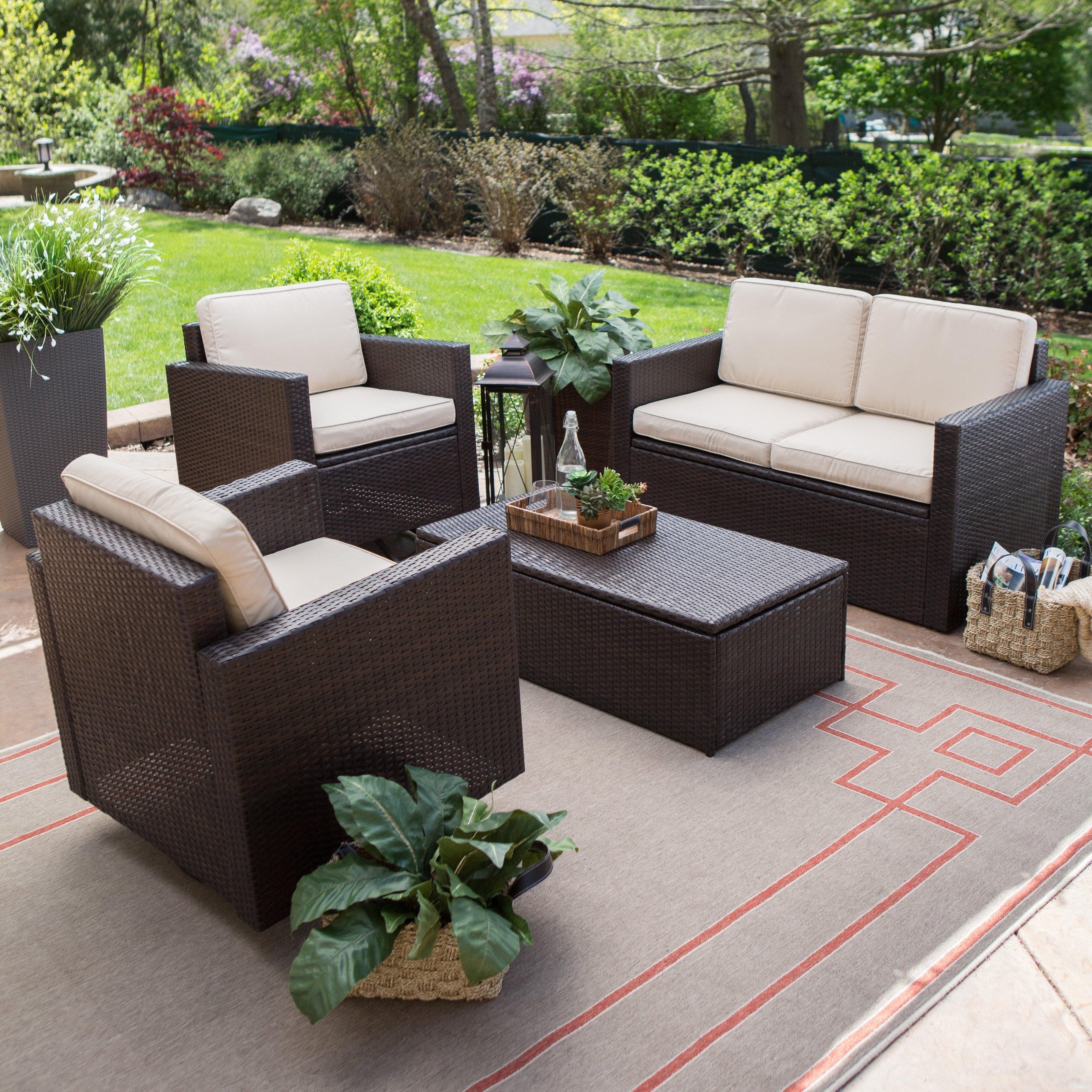 Favorite Resin Wicker Patio Conversation Sets With Coral Coast Berea Wicker 4 Piece Conversation Set With Storage (View 8 of 15)