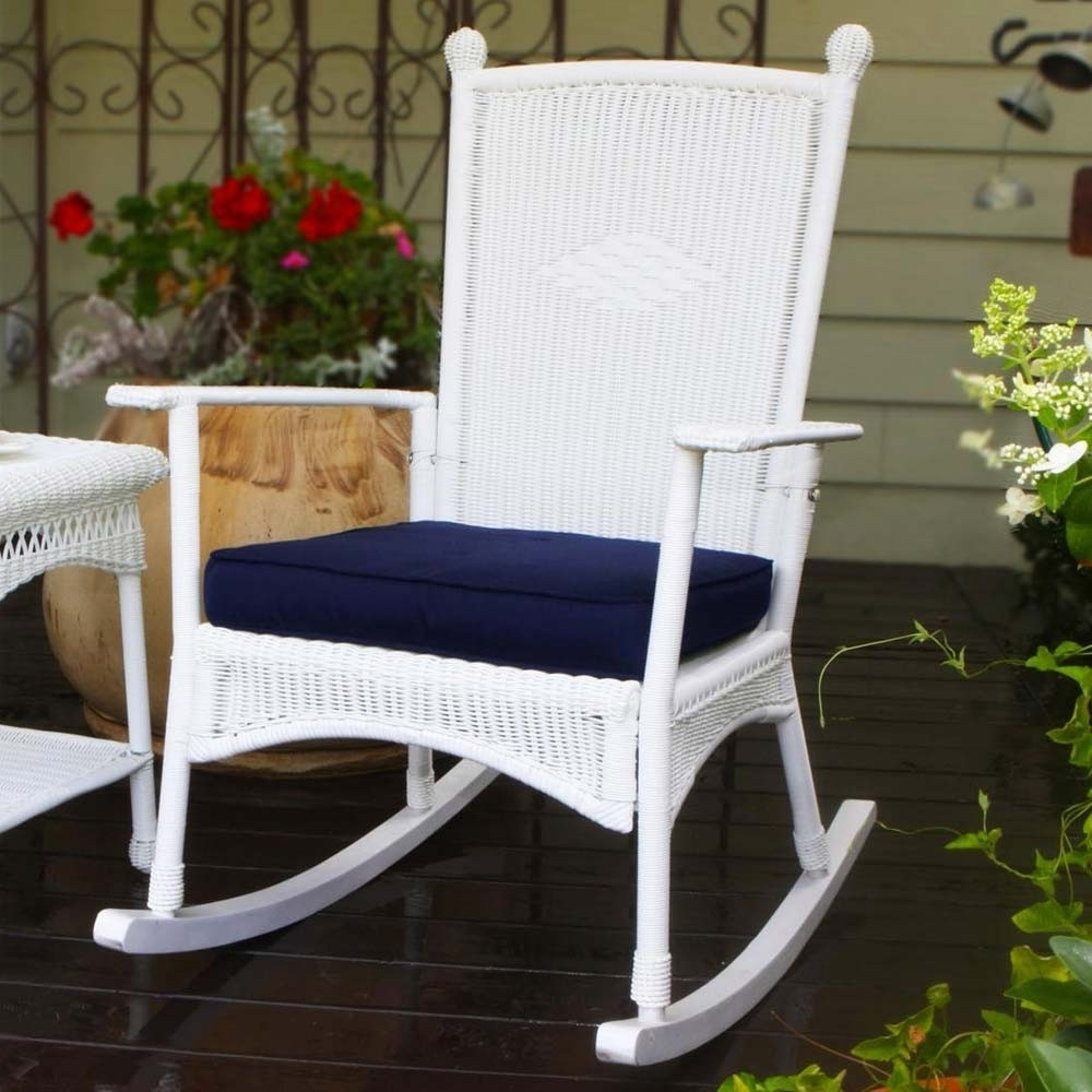 Favorite White Wicker Rocking Chairs Intended For Tortuga Outdoor Portside Classic Wicker Rocking Chair – Wicker (View 8 of 15)