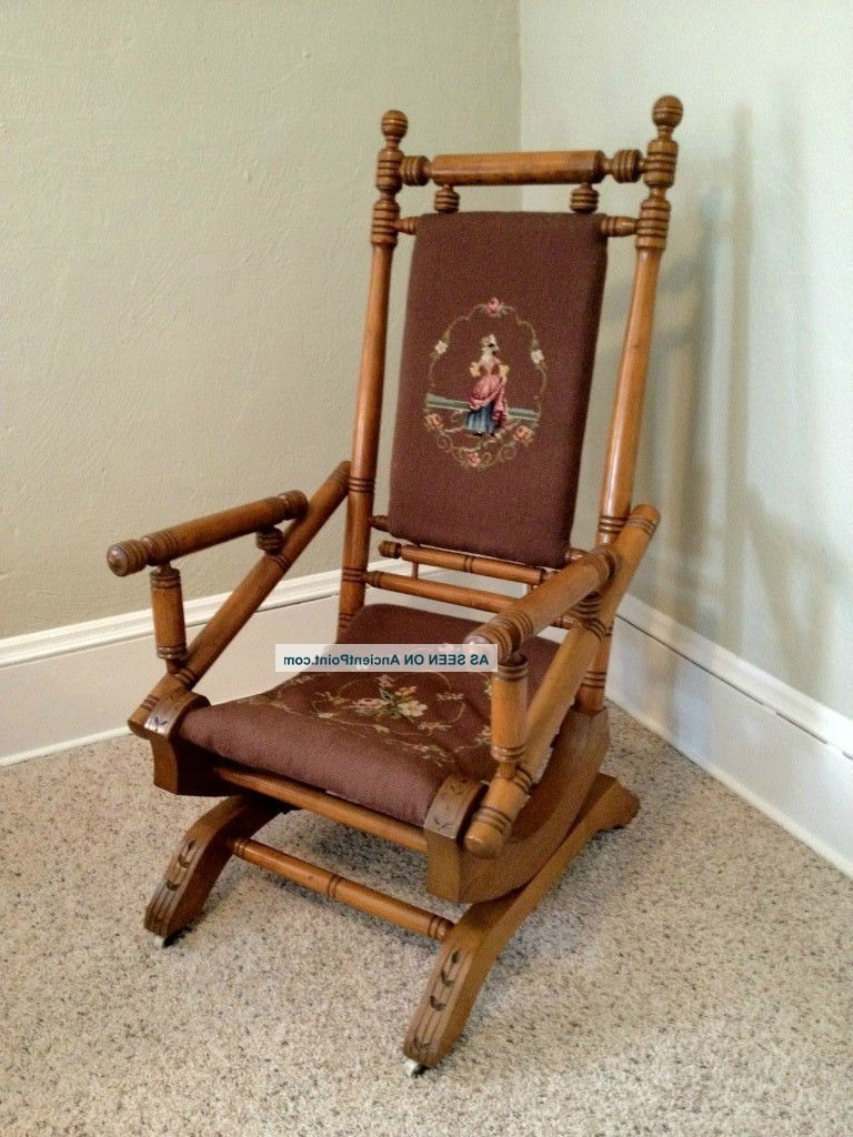 Fresh Antique Upholstered Rocking Chair On Home Decor Ideas With Inside Trendy Antique Rocking Chairs (View 8 of 15)