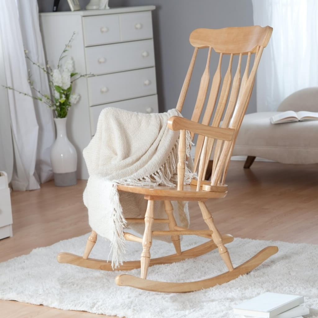 Furniture: Oak Wood Rocking Chair For Baby Nursery – Cool Baby For Fashionable Rocking Chairs For Baby Room (View 3 of 15)