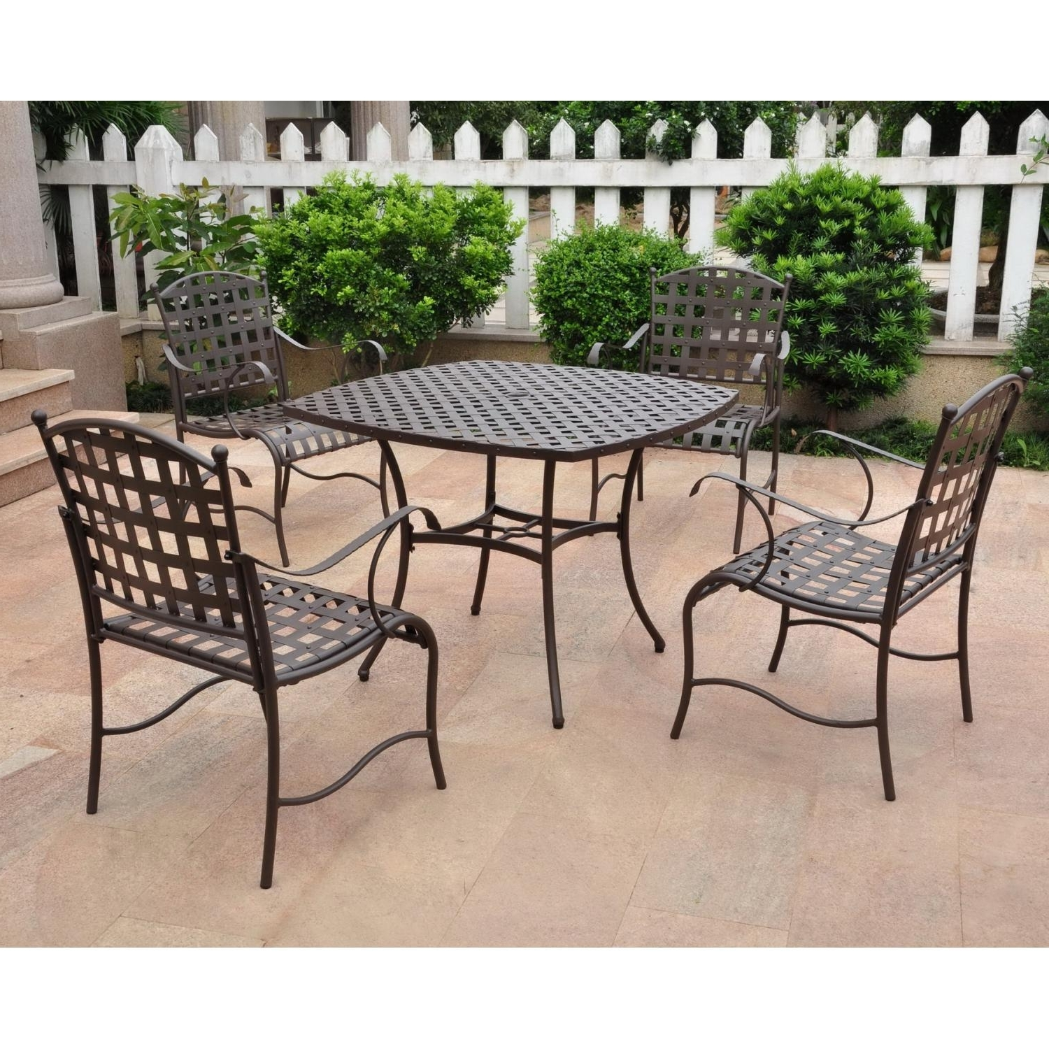 Furniture: Simple Wrought Iron Patio Furniture On Concrete Flooring With Regard To Most Recently Released Wrought Iron Patio Conversation Sets (View 10 of 15)