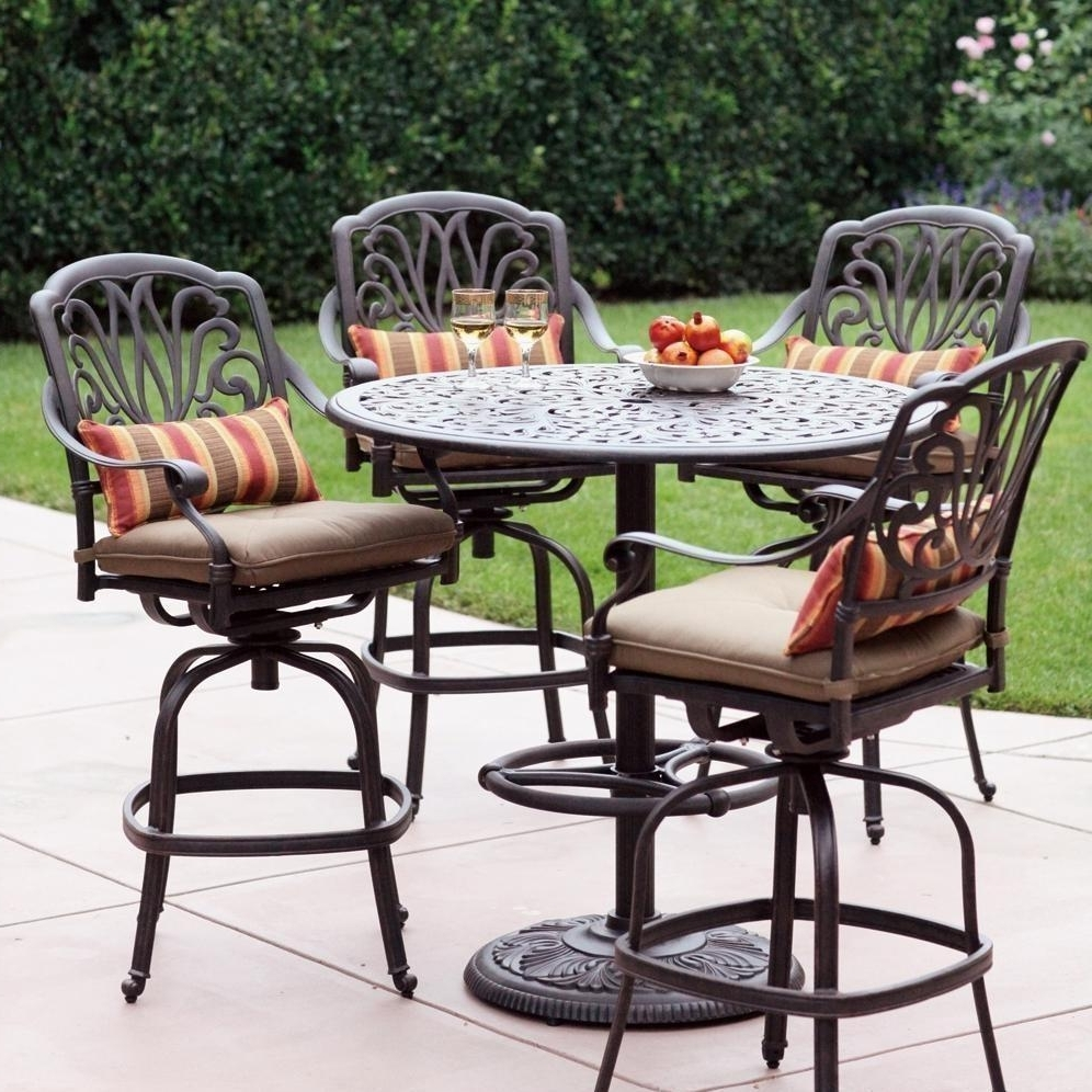 Garden Aluminum Garden Table And Chairs Cast Aluminium Dining Sets Throughout Popular Dot Patio Conversation Sets (View 8 of 15)