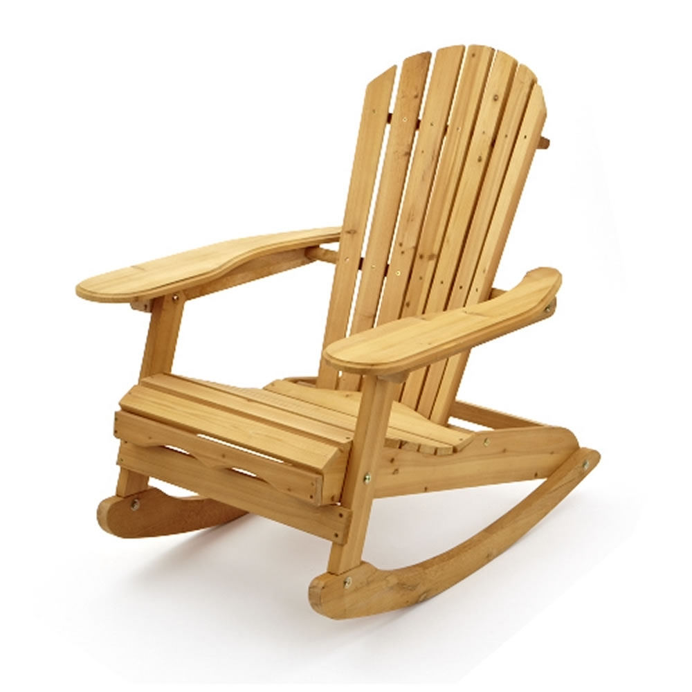 Garden Patio Wooden Adirondack Rocking Chair Pertaining To Popular Rocking Chairs For Garden (View 3 of 15)