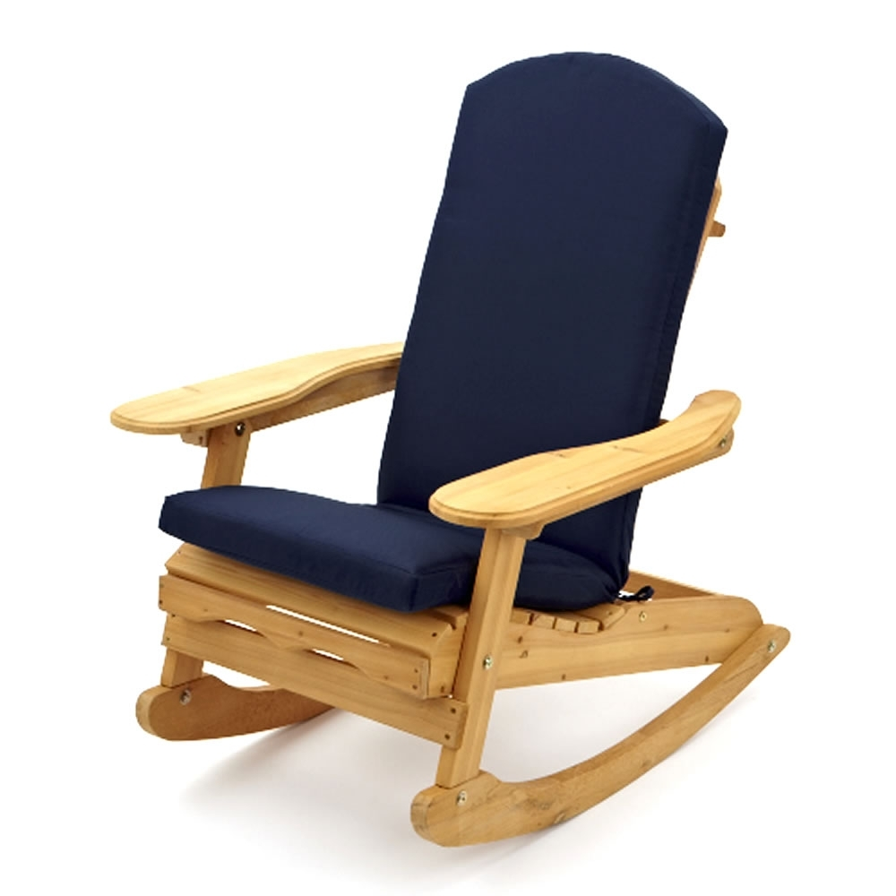 Garden Patio Wooden Rocking Chair With Luxury Blue Cushion with Well known Patio Wooden Rocking Chairs