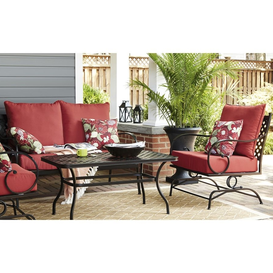 Garden Treasures Patio Conversation Sets Regarding Favorite Shop Garden Treasures Yorkford 2 Piece Steel Patio Conversation Set (Gallery 11 of 15)
