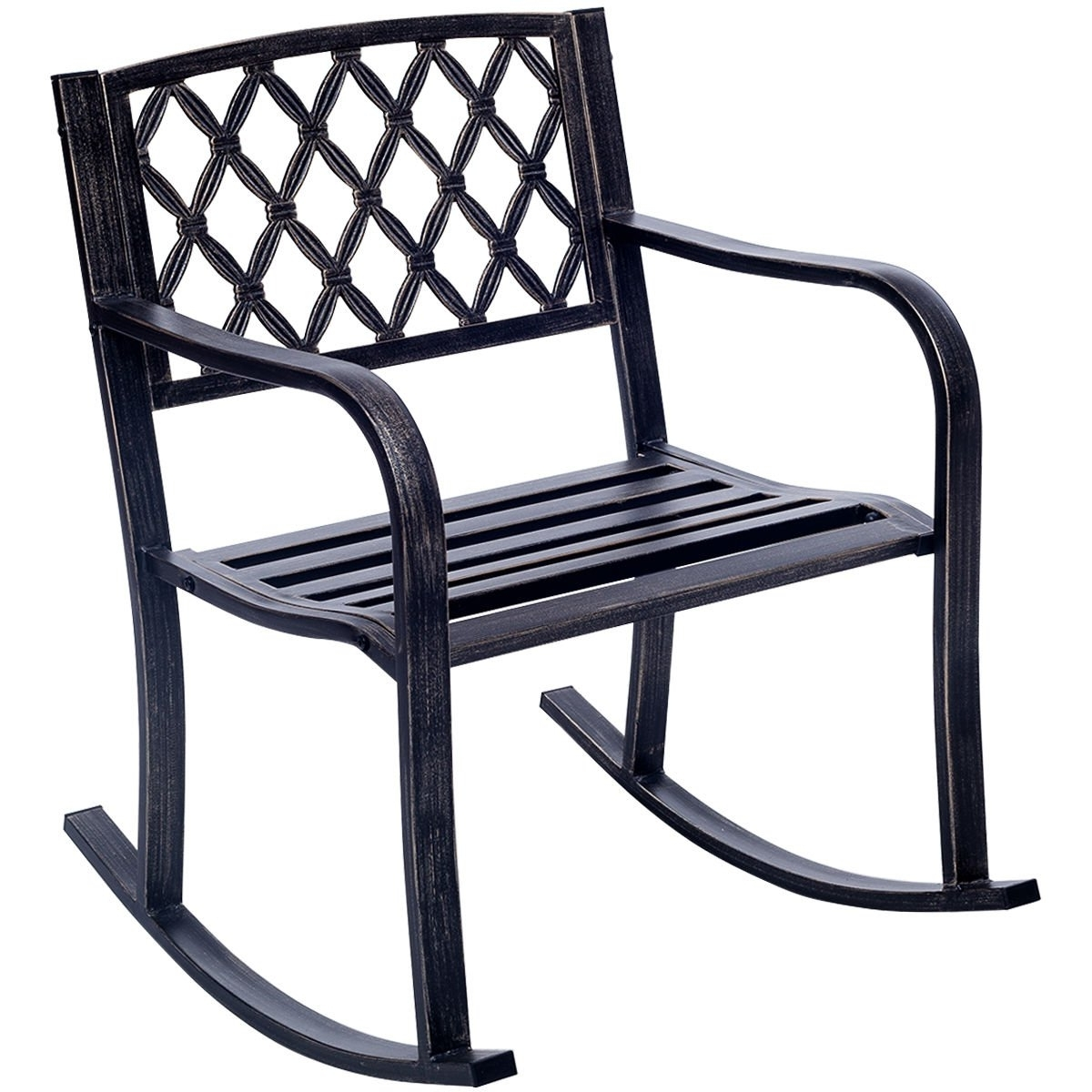 Giantex Patio Metal Rocking Chair Porch Seat Deck Outdoor Backyard Inside Latest Patio Metal Rocking Chairs (View 7 of 15)