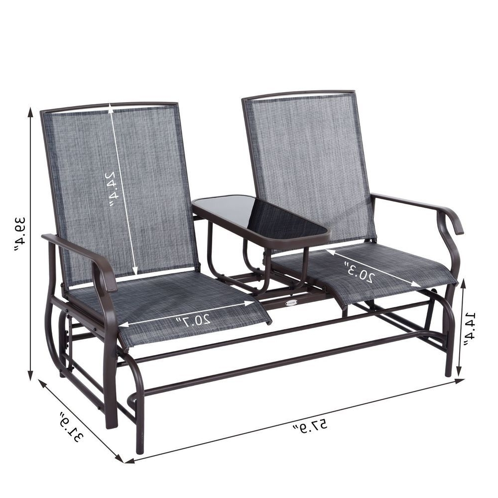 Glider 2 Seater Patio Rocking Chair Metal Swing Bench Furniture regarding Most Popular Patio Rocking Chairs And Gliders