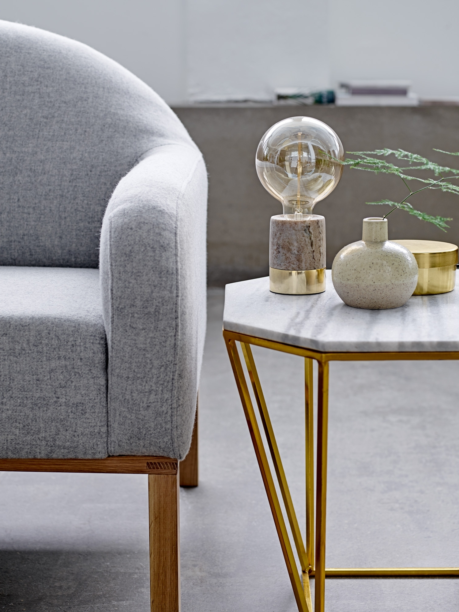 Gold Living Room Table Lamps With Regard To Recent Table Lamp In Beige Marble And Gold From Bloomingville – Happy (View 6 of 15)