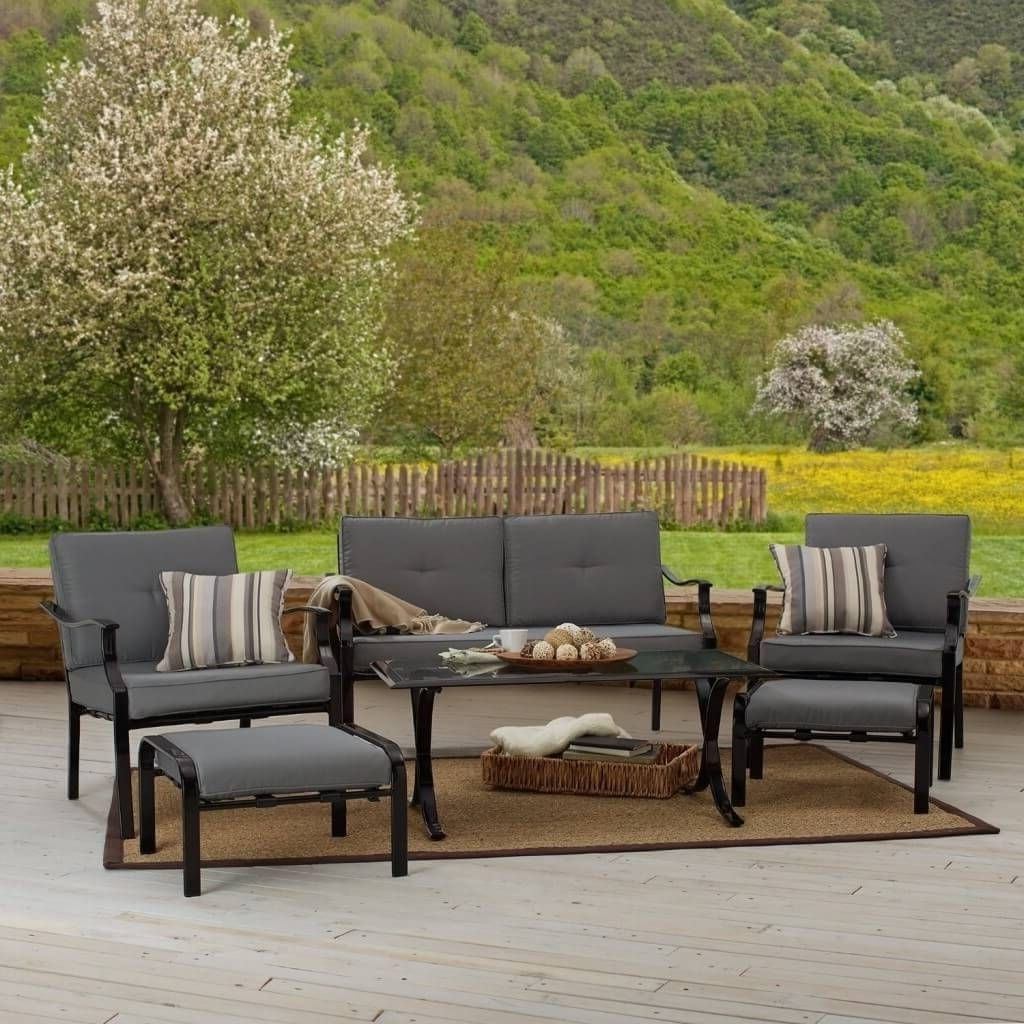 Gray Patio Conversation Sets Pertaining To Most Recent Outdoor & Garden: Strathwood All Weather Patio Furniture Set With (Gallery 10 of 15)