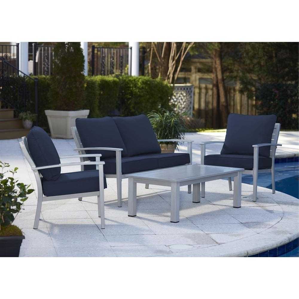 Gray Patio Conversation Sets With Most Recent Blue Gray Patio Conversation Sets Outdoor Lounge Furniture In Navy (View 14 of 15)