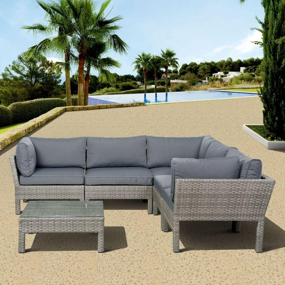 Gray Patio Conversation Sets with regard to 2017 Atlantic Contemporary Lifestyle Infinity Gray 6-Piece All-Weather