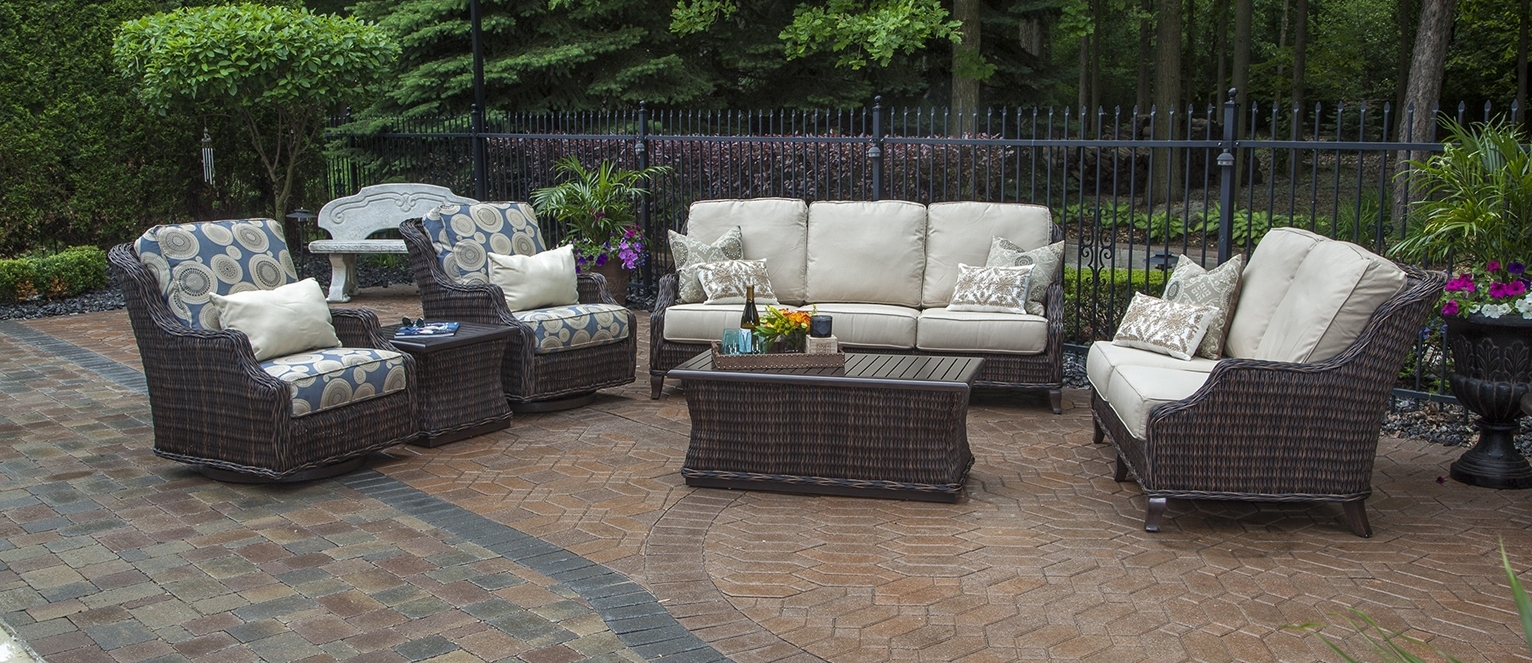 Gray Wicker Patio Furniture Shop For Heredeco 13 Piece Outdoor Porch In Most Up To Date Patio Conversation Sets With Glider (View 6 of 15)
