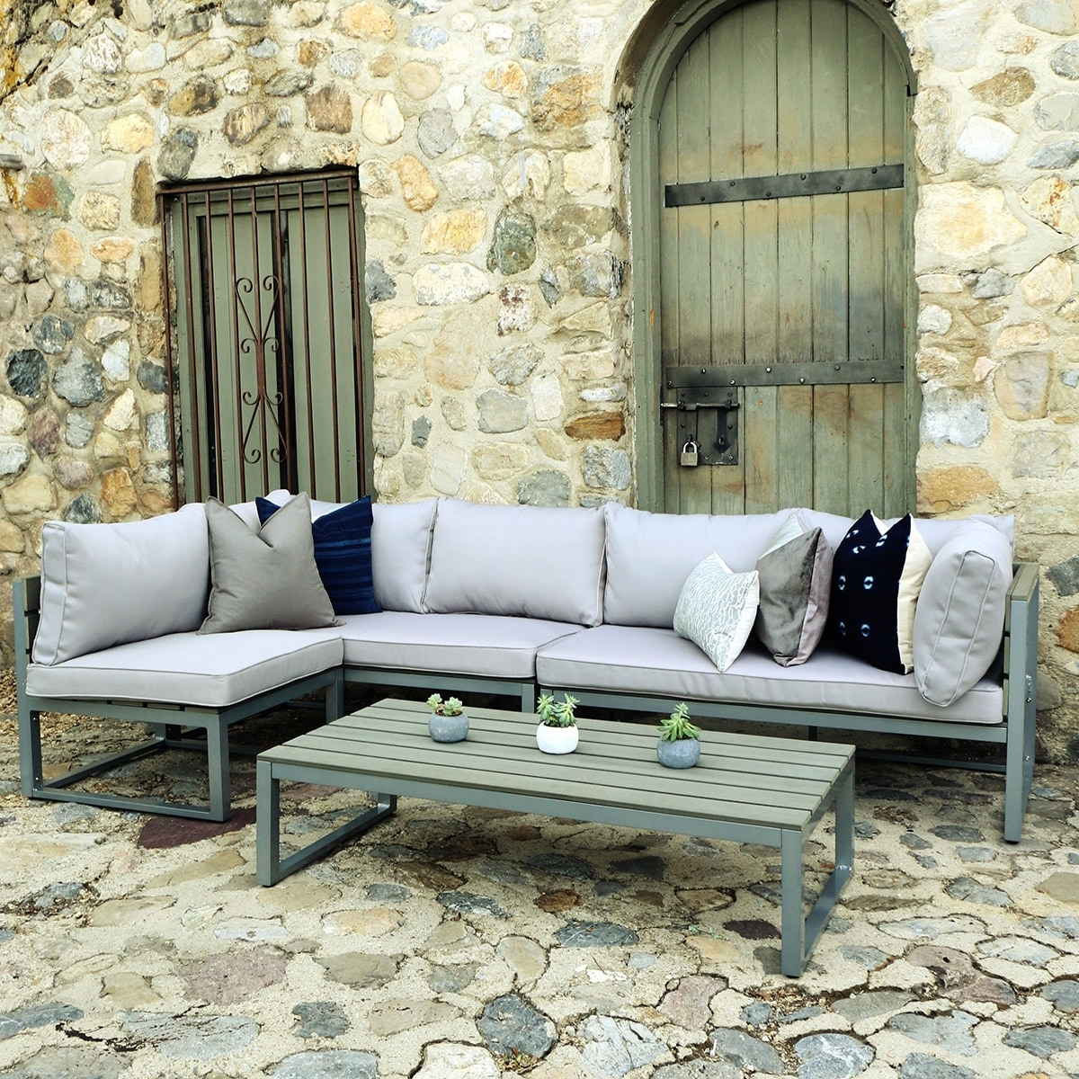 Grey Patio Conversation Sets Within Most Recently Released Shop Carbon Loft Ostriker All Weather Grey 4 Piece Patio (View 10 of 15)